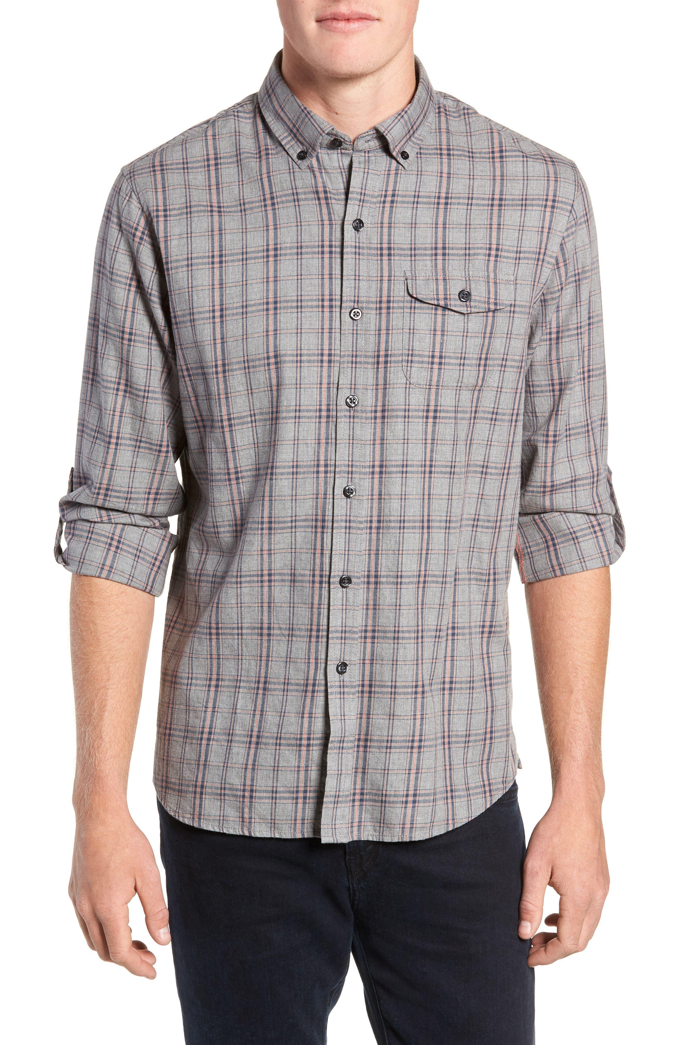 Flannel Twill Plaid Regular Fit Sport Shirt,                         Main,                         color, CHARCOAL