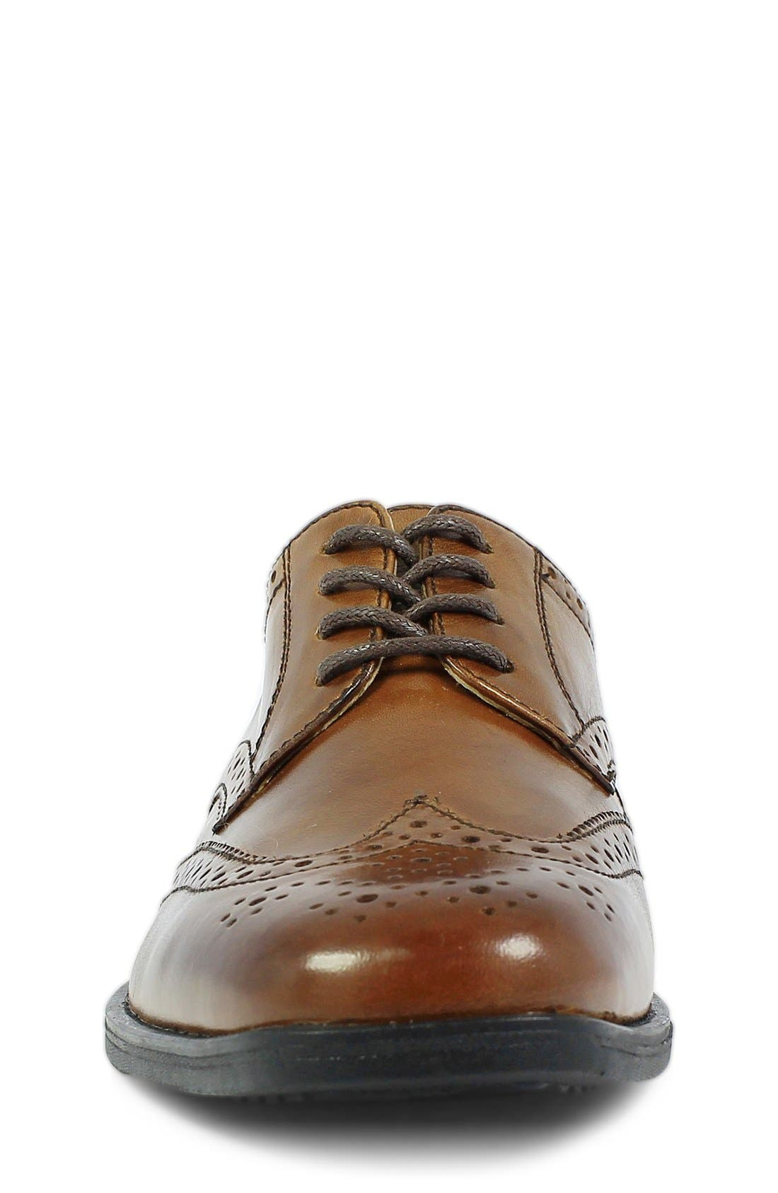 'Reveal' Wingtip Oxford,                             Alternate thumbnail 4, color,                             COGNAC LEATHER