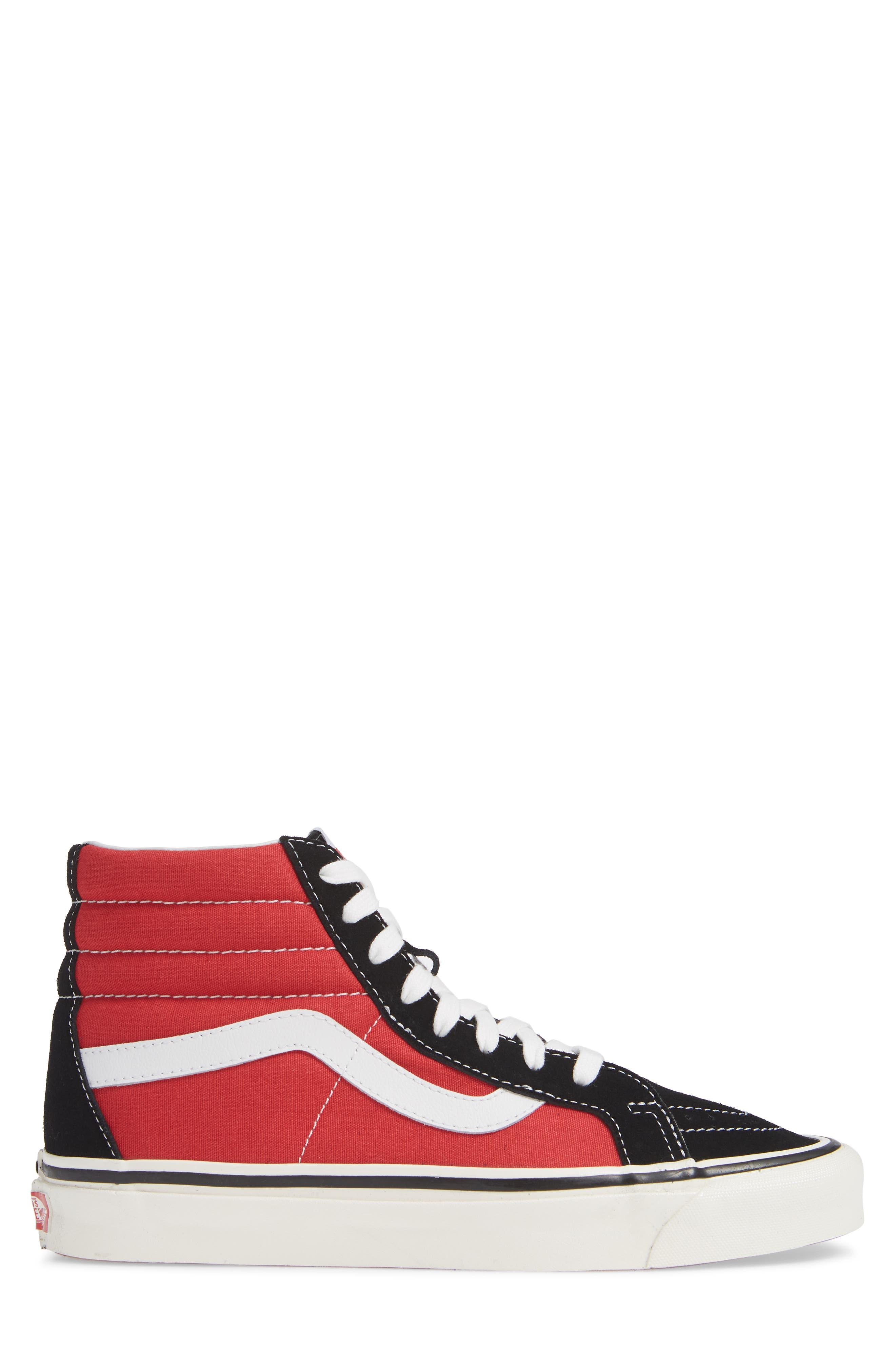UA Sk8-Hi 38 DX Sneaker,                             Alternate thumbnail 3, color,                             OG BLACK/ OG RED CANVAS