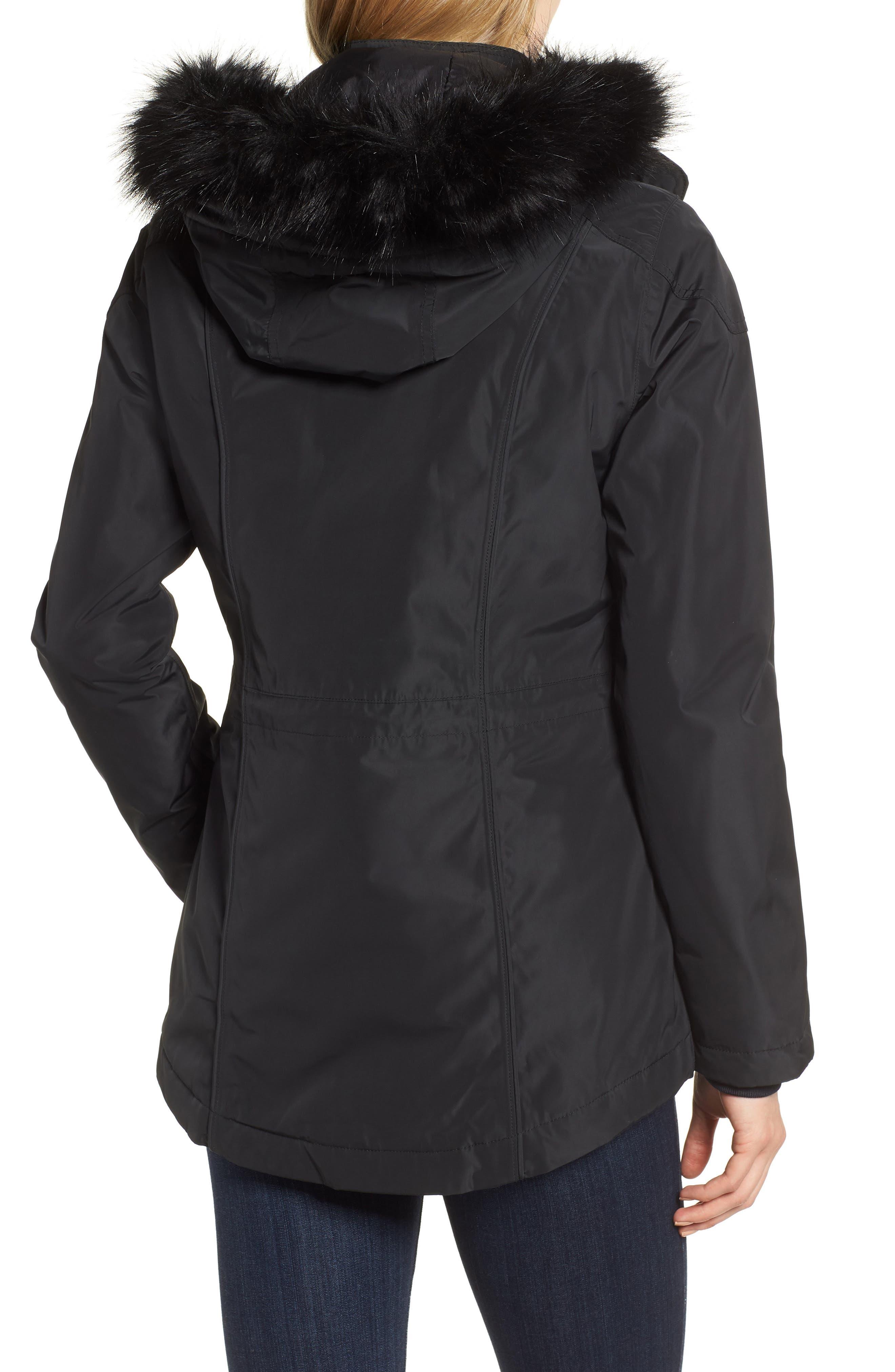 BARBOUR,                             International Aragon Waterproof Breathable Faux Fur Trim Jacket,                             Alternate thumbnail 2, color,                             001