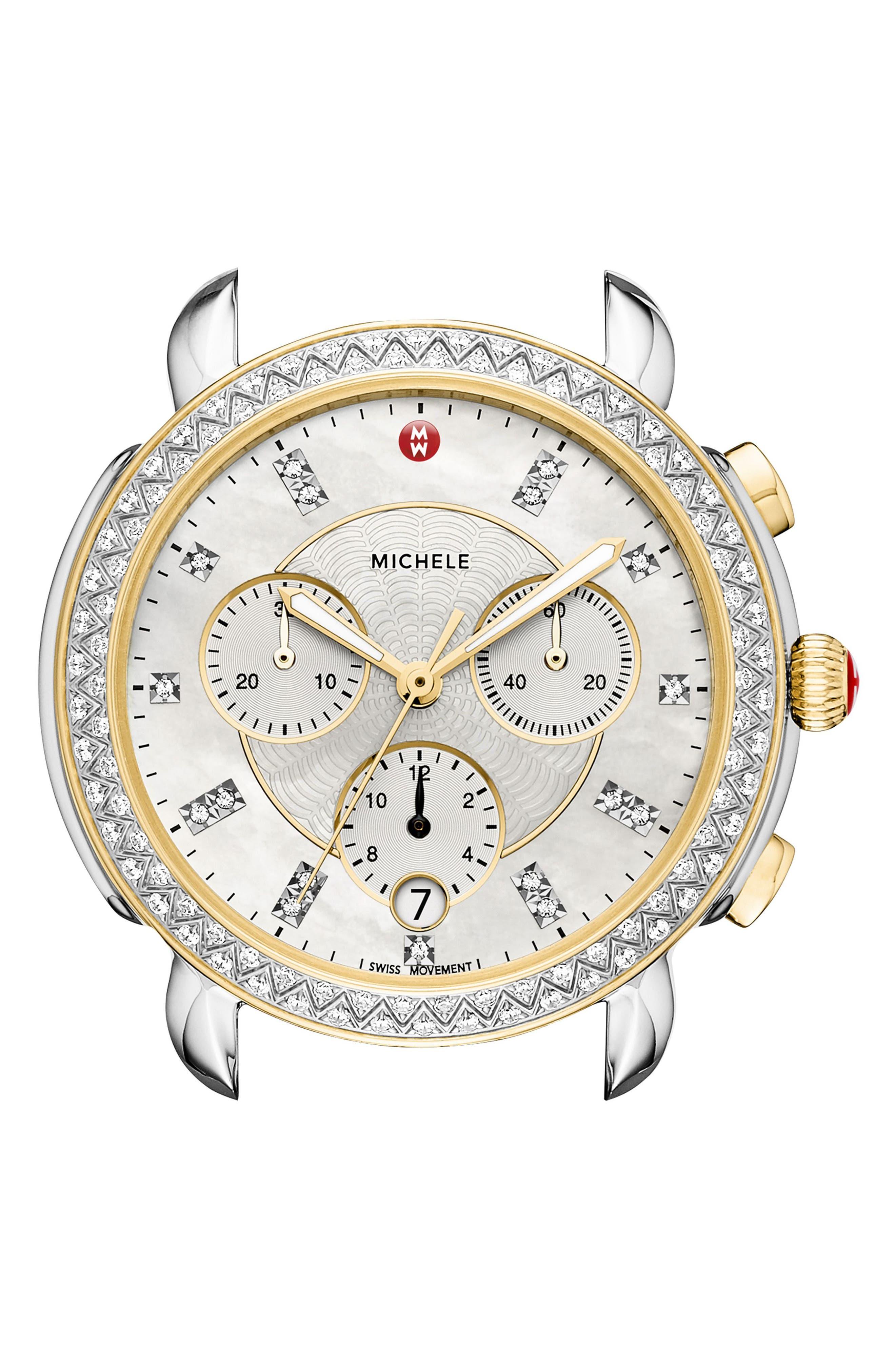 Sidney Chrono Diamond Diamond Dial Watch Case, 38mm,                         Main,                         color, SILVER/ MOP/ GOLD