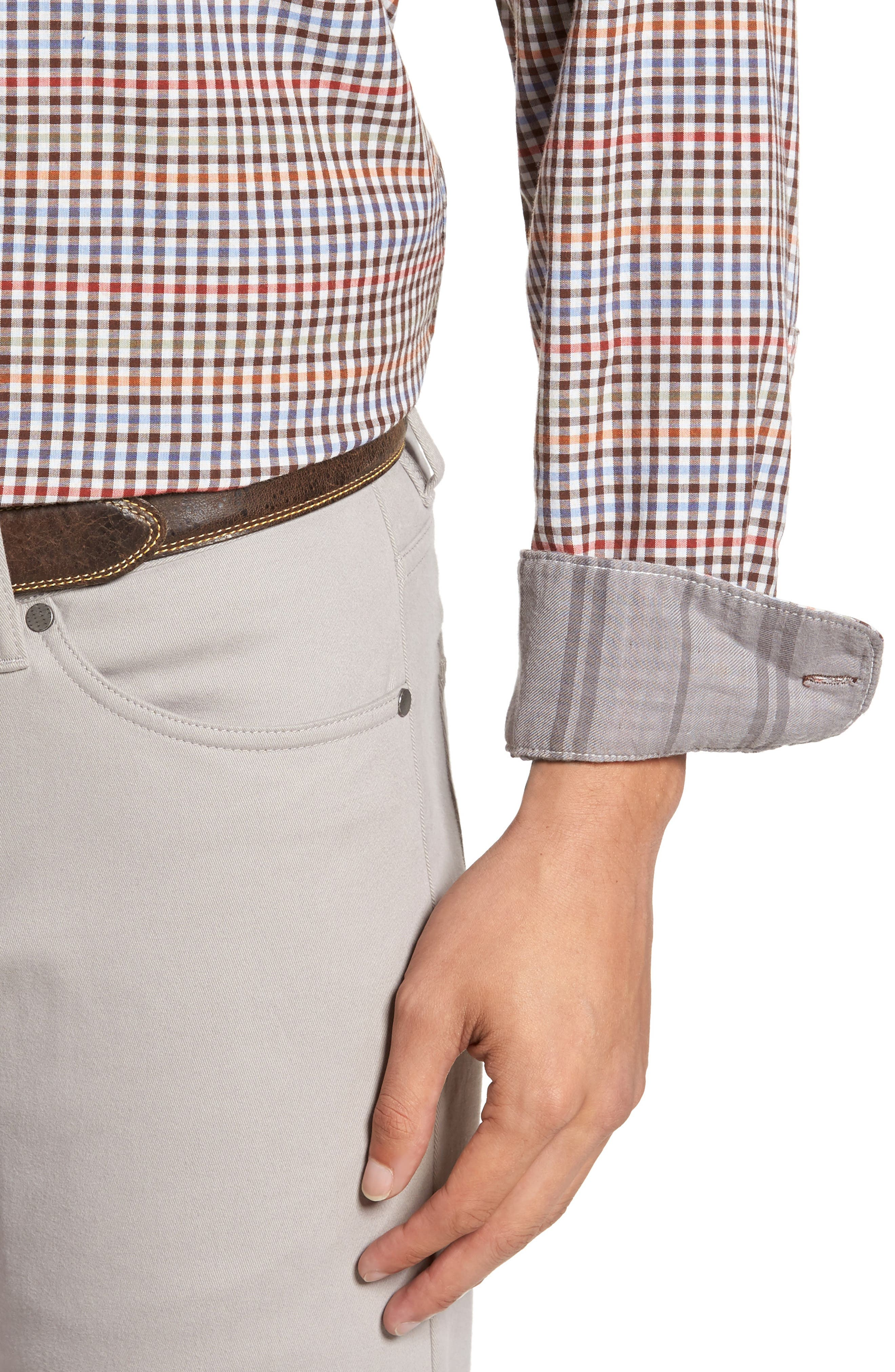 Tan Tan Regular Fit Check Sport Shirt,                             Alternate thumbnail 4, color,                             050