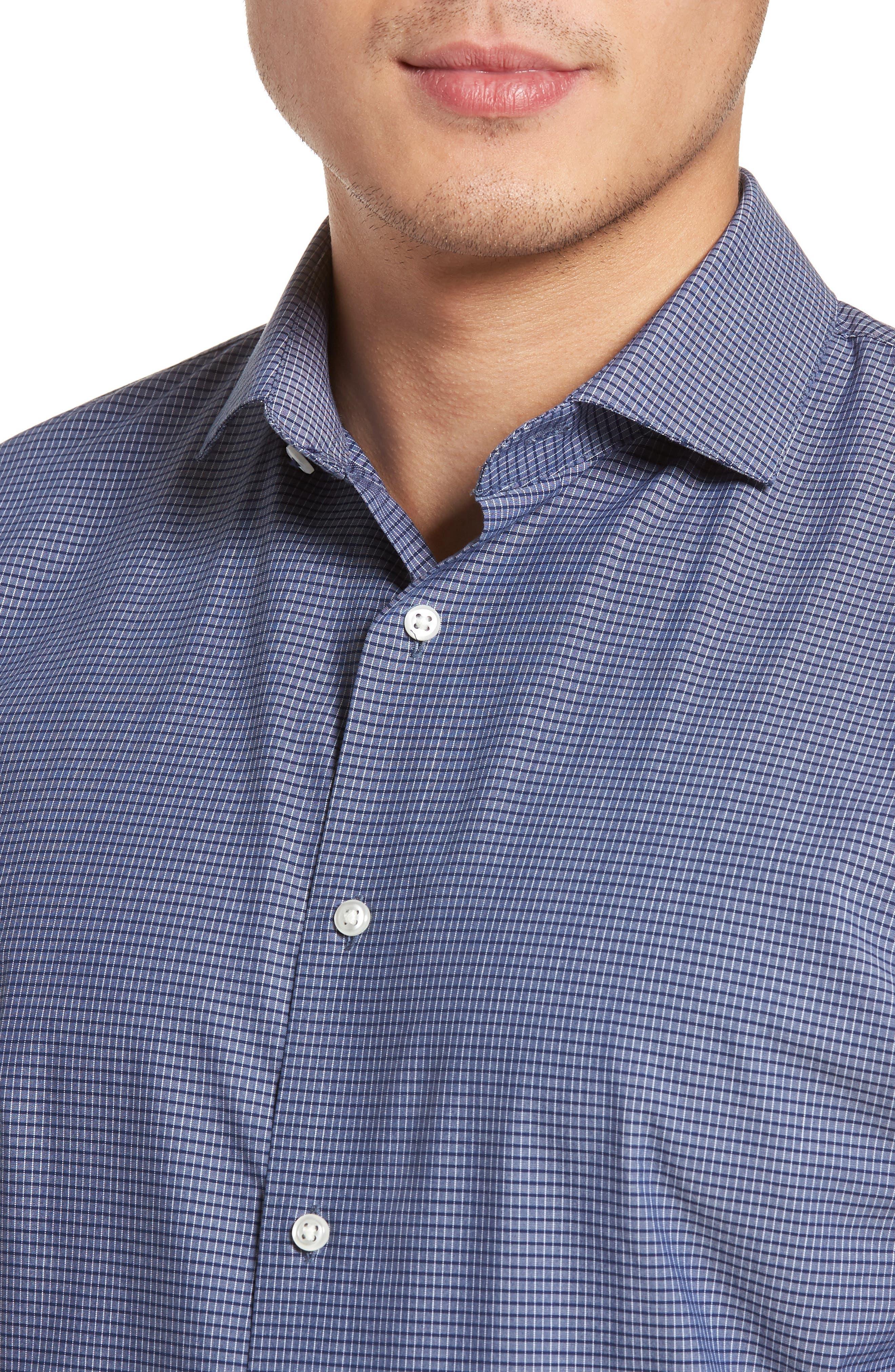 Tech-Smart Trim Fit Stretch Check Dress Shirt,                             Alternate thumbnail 2, color,                             410
