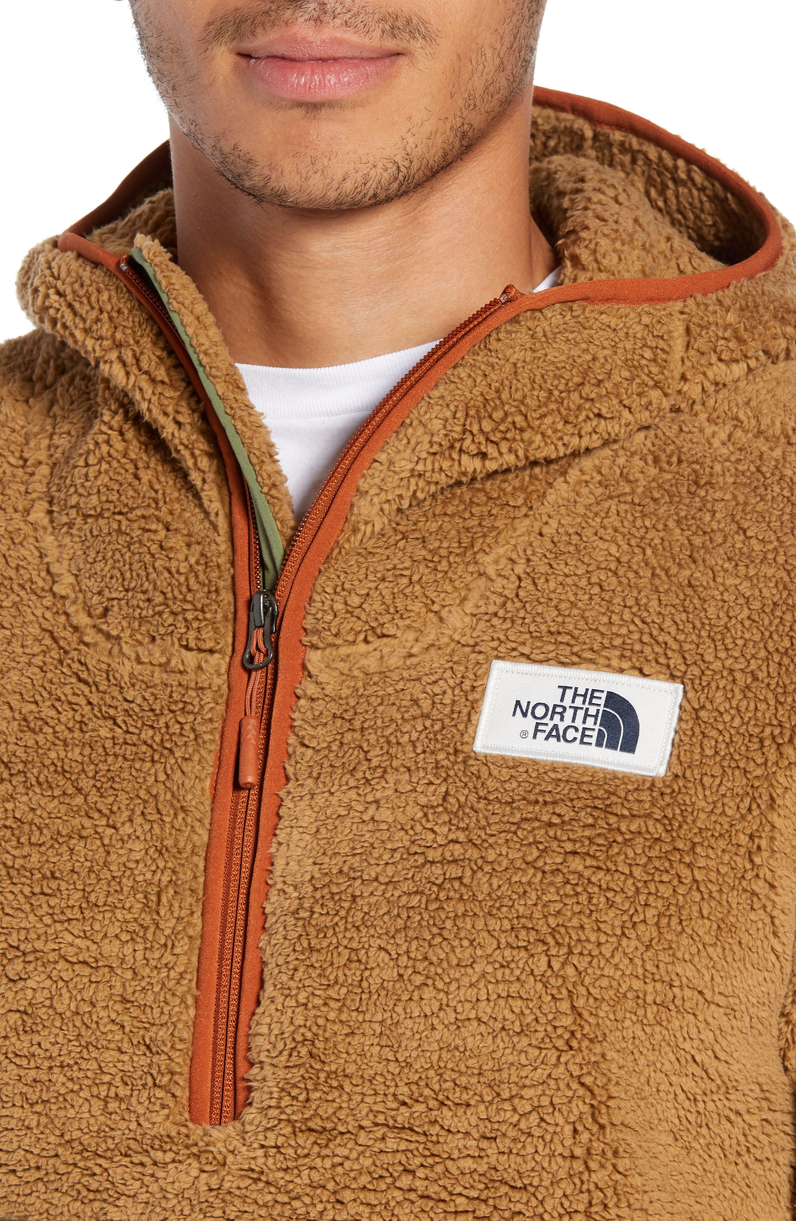 THE NORTH FACE,                             Campshire Anorak Fleece Jacket,                             Alternate thumbnail 4, color,                             CARGO KHAKI/ FOUR LEAF CLOVER