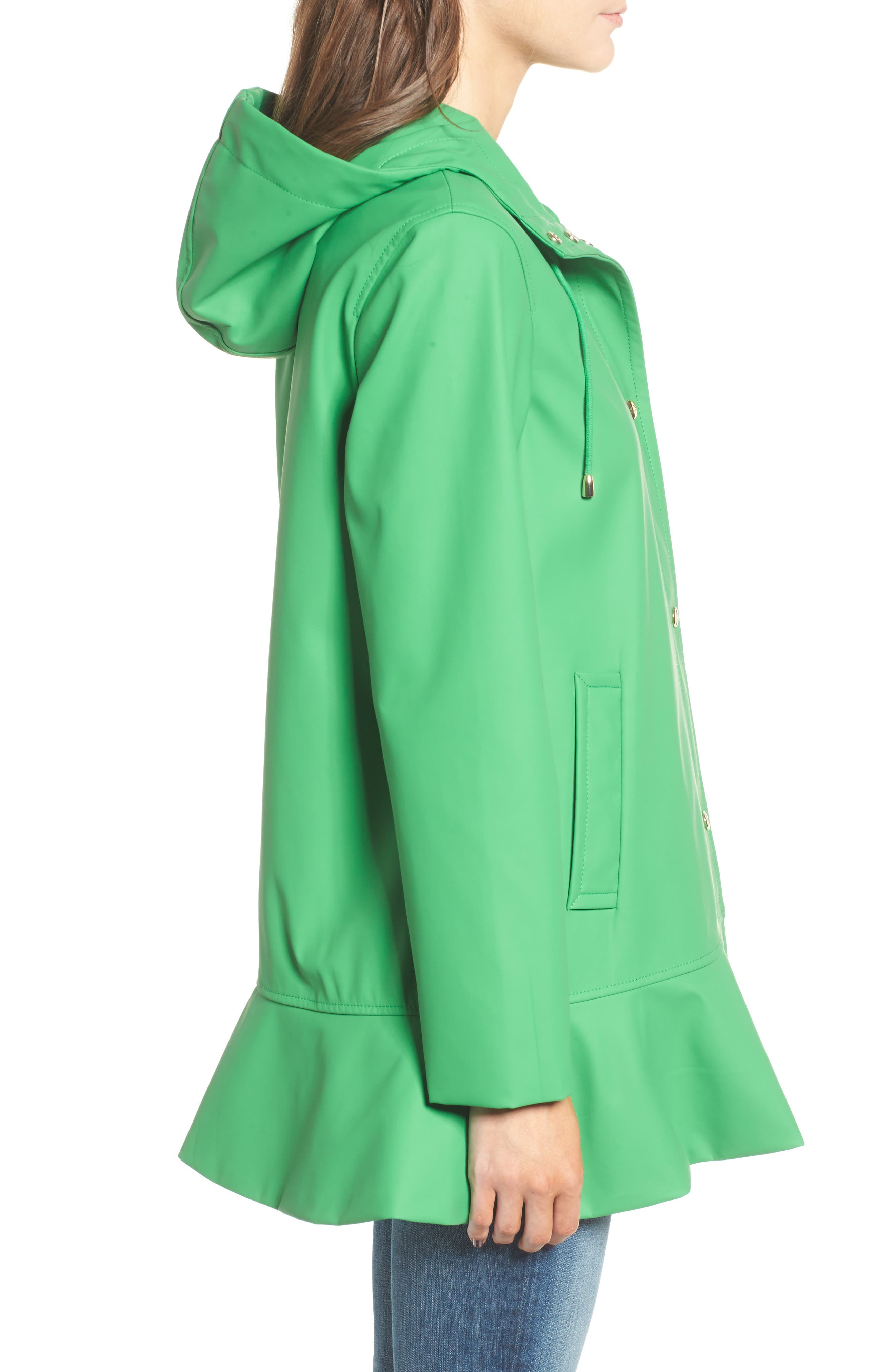 hooded peplum rain coat,                             Alternate thumbnail 3, color,                             330