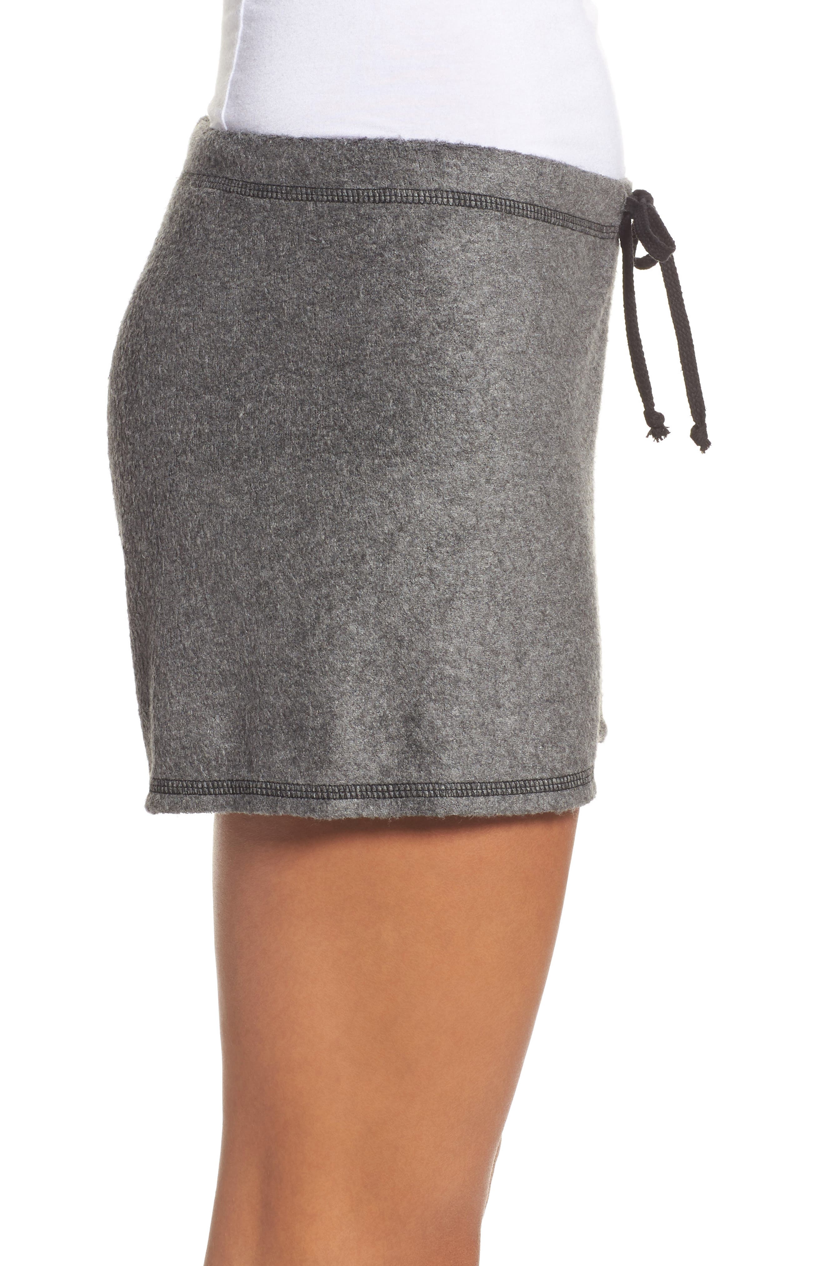 Traci Fleece Lounge Shorts,                             Alternate thumbnail 3, color,                             020