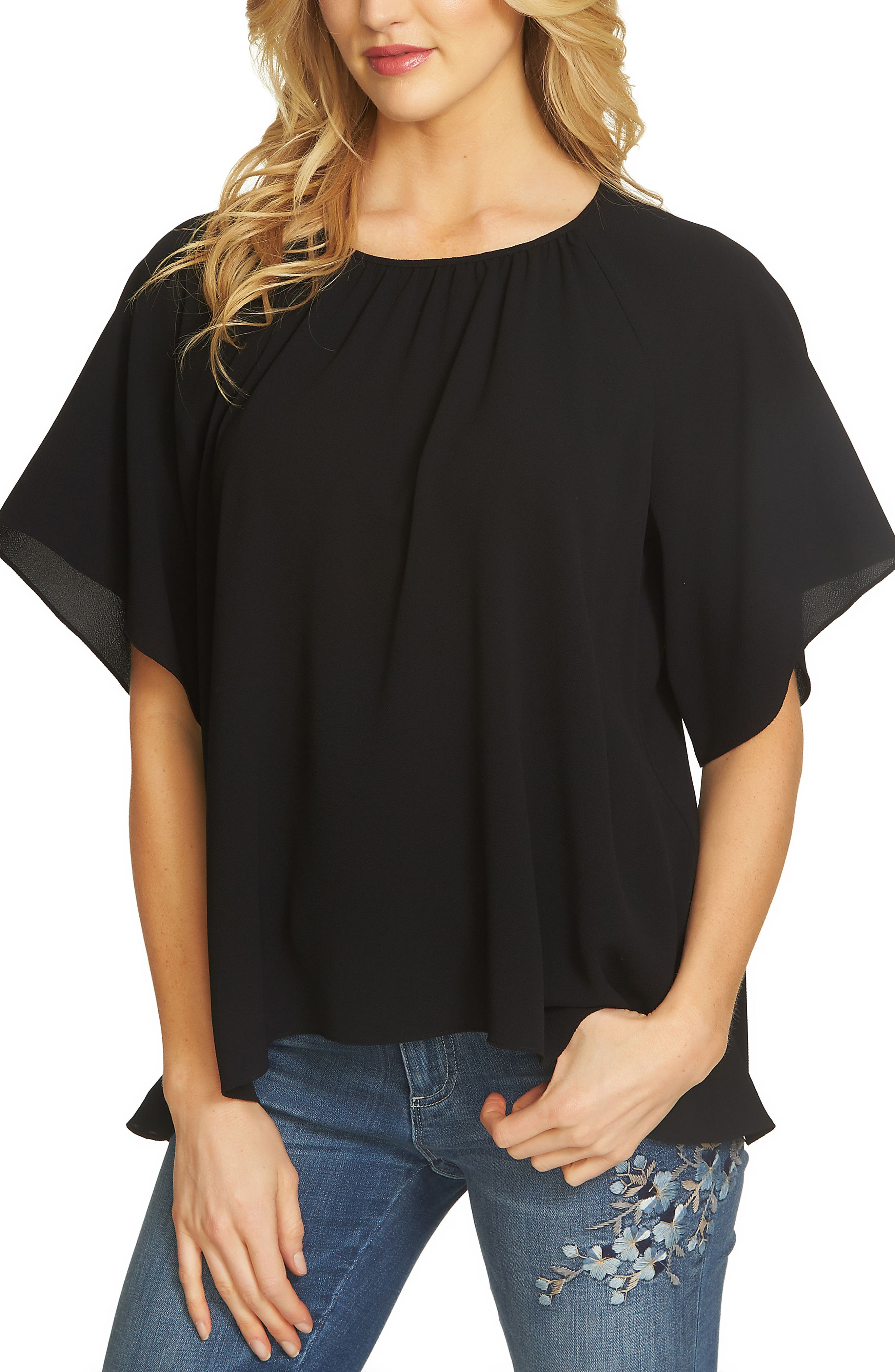 Textured Stretch Crepe Blouse,                             Main thumbnail 1, color,                             010
