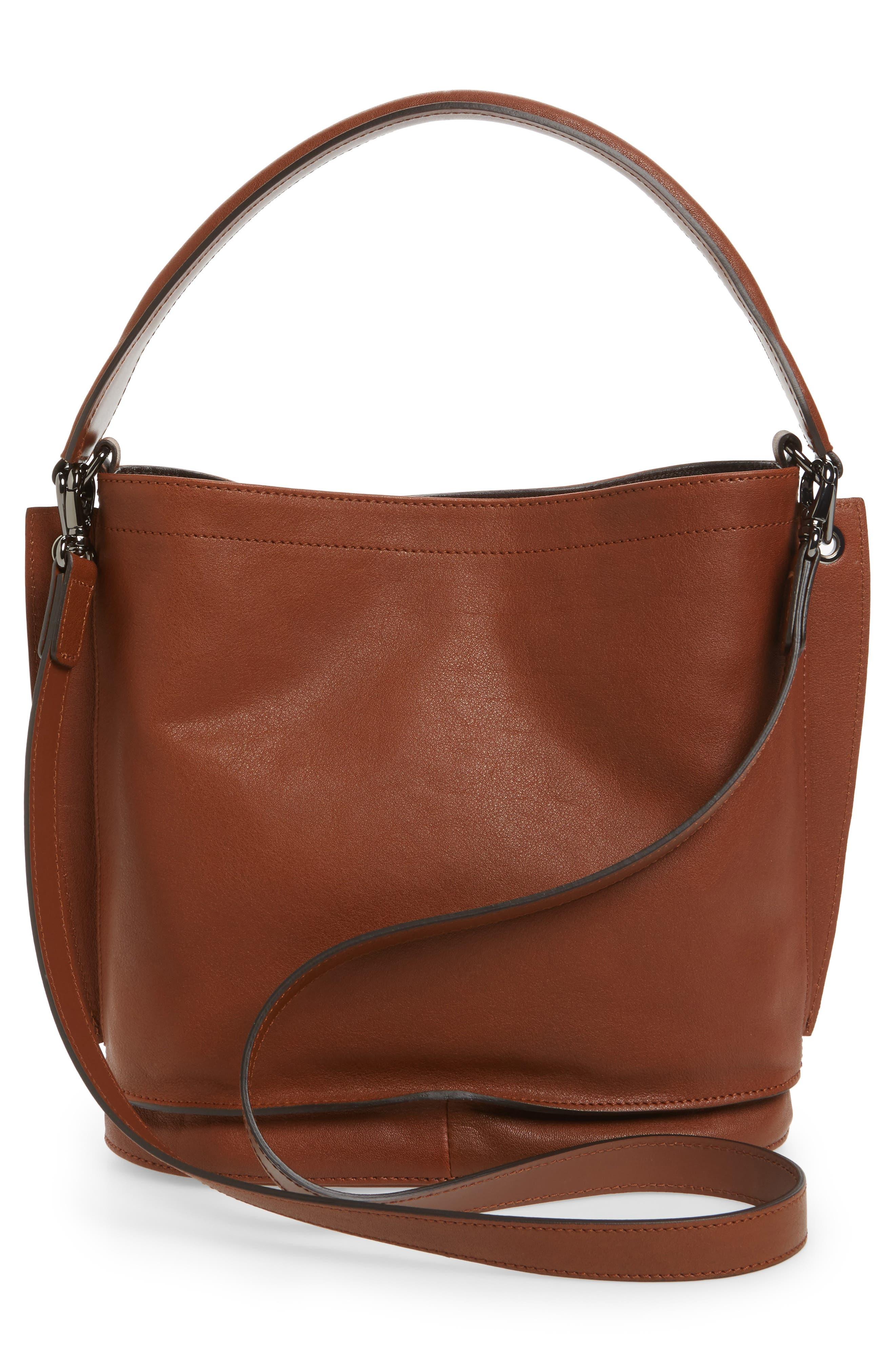 3D Leather Bucket Bag,                             Alternate thumbnail 3, color,                             COGNAC