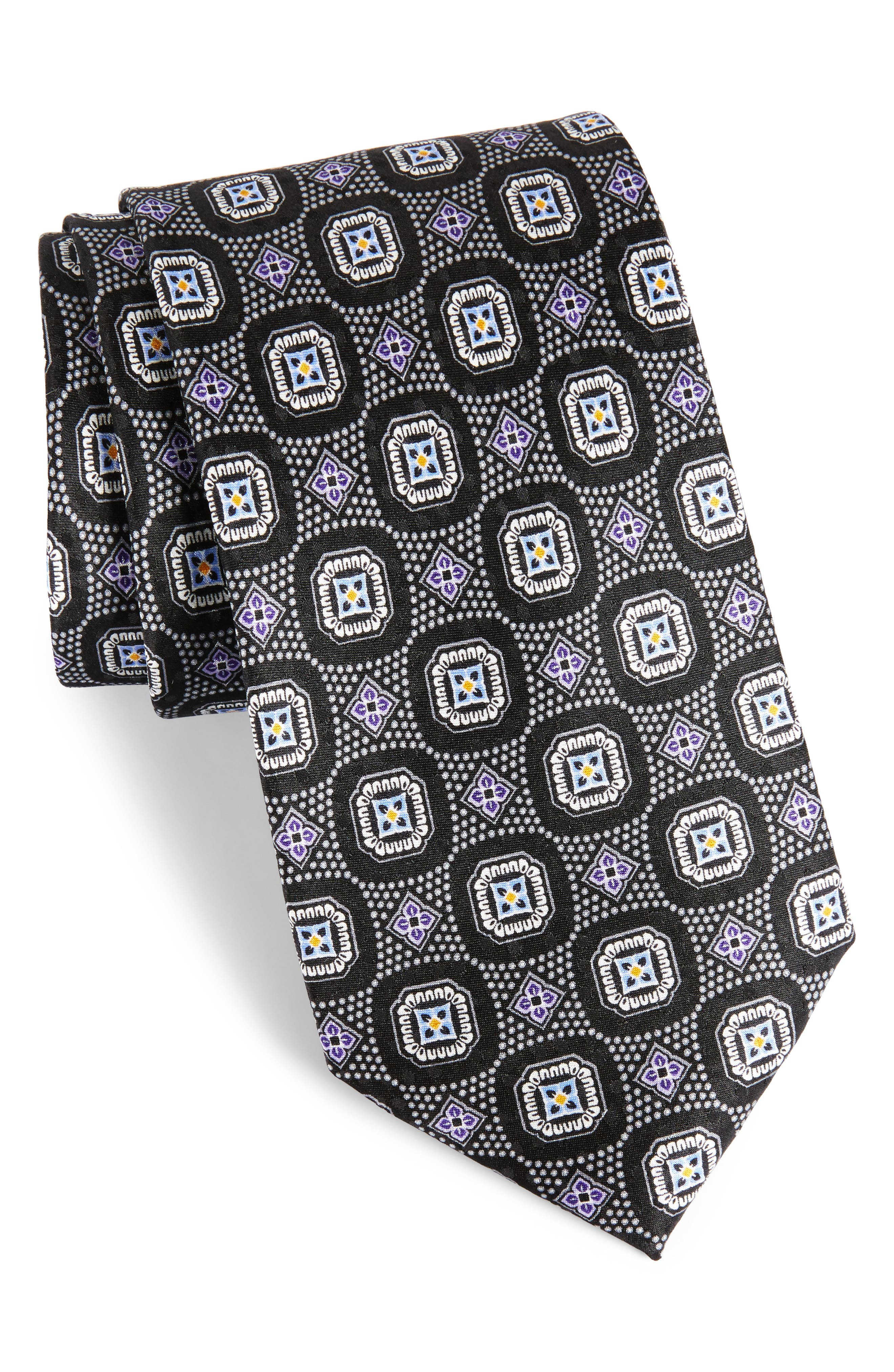 Medallion Silk Tie,                             Main thumbnail 1, color,                             001