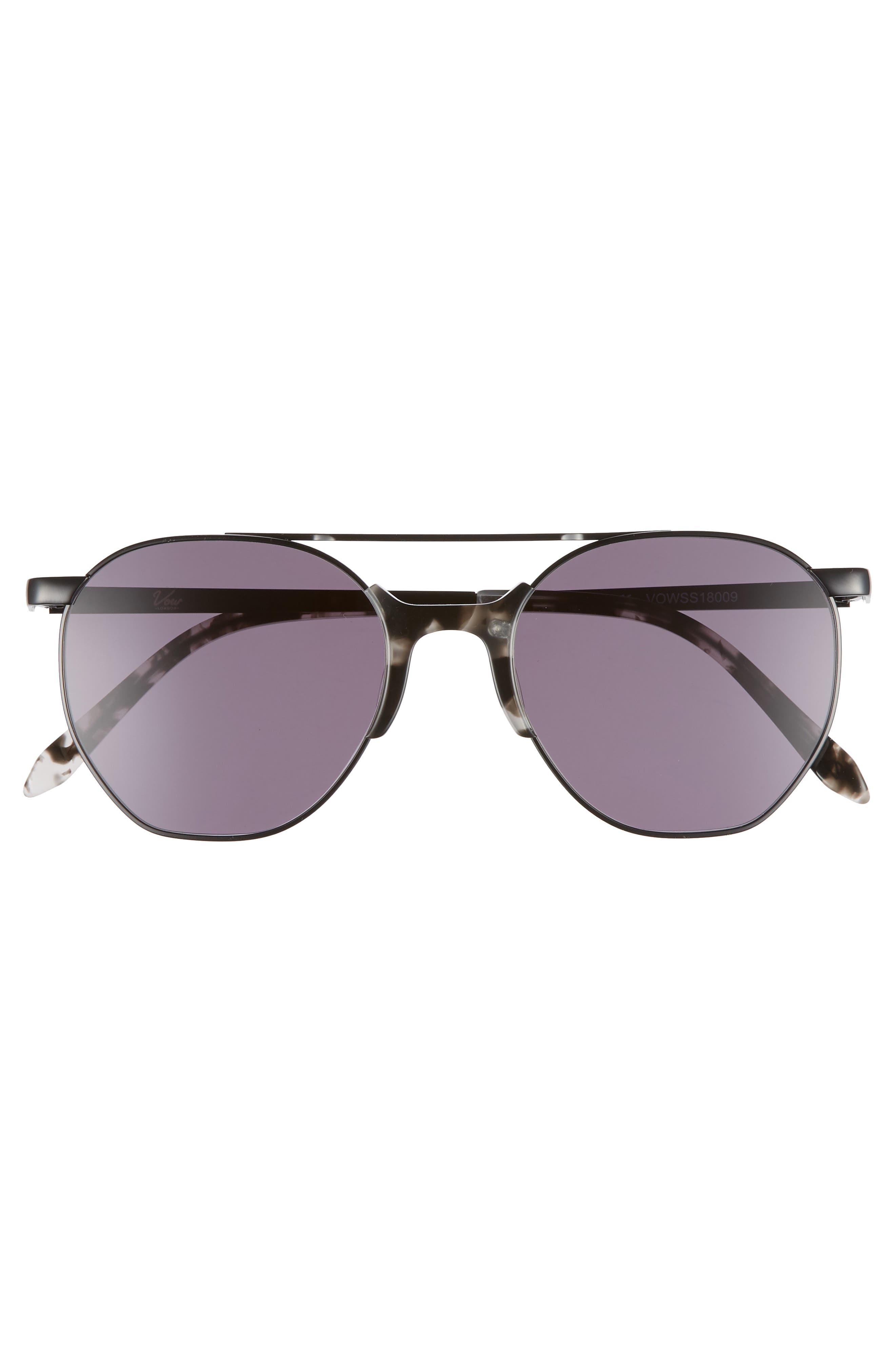 Raine 52mm Aviator Sunglasses,                             Alternate thumbnail 3, color,                             SMOKE TORTOISE/ BLACK