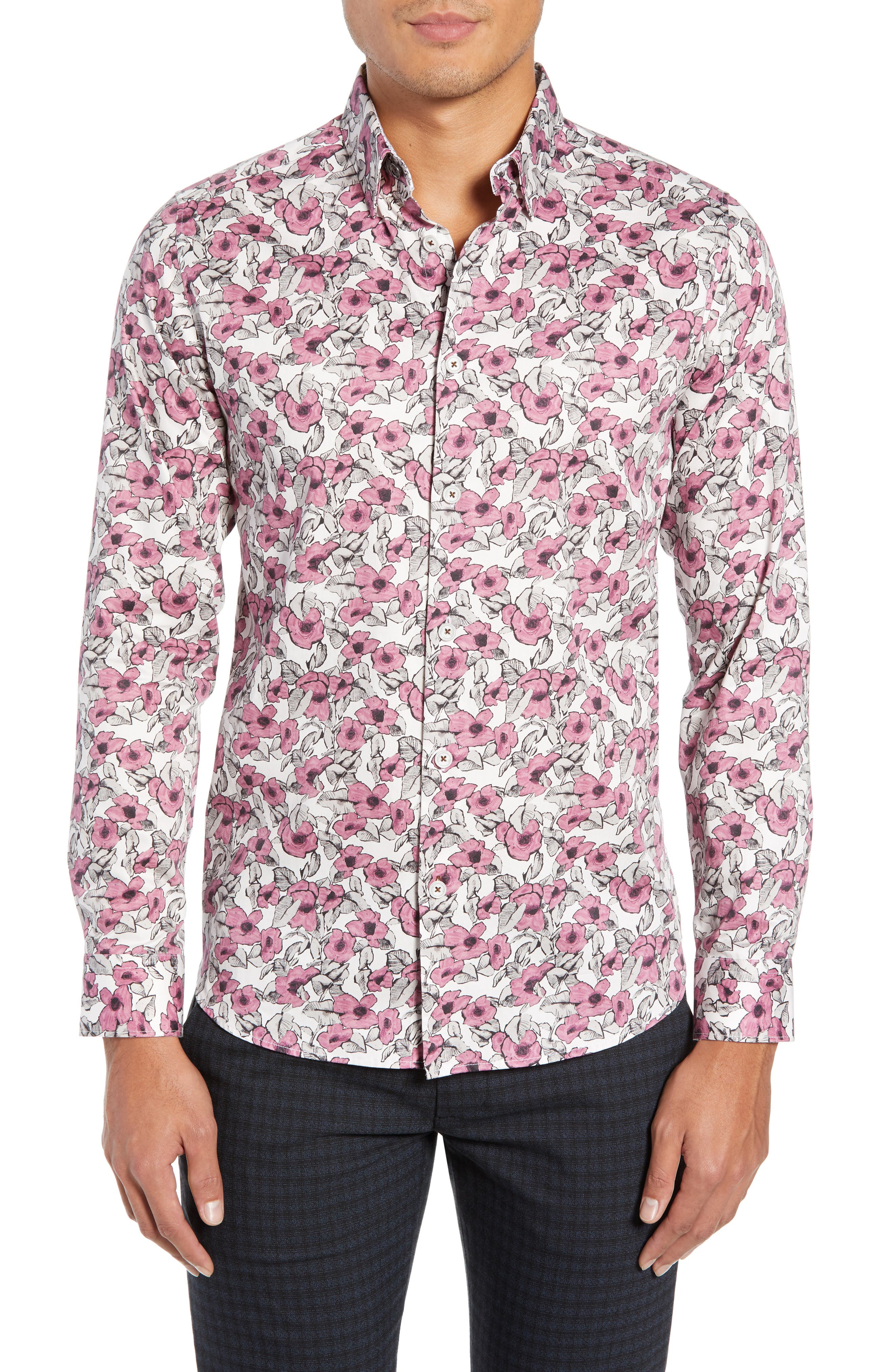 Croyden Slim Fit Floral Sport Shirt,                             Main thumbnail 1, color,                             PINK