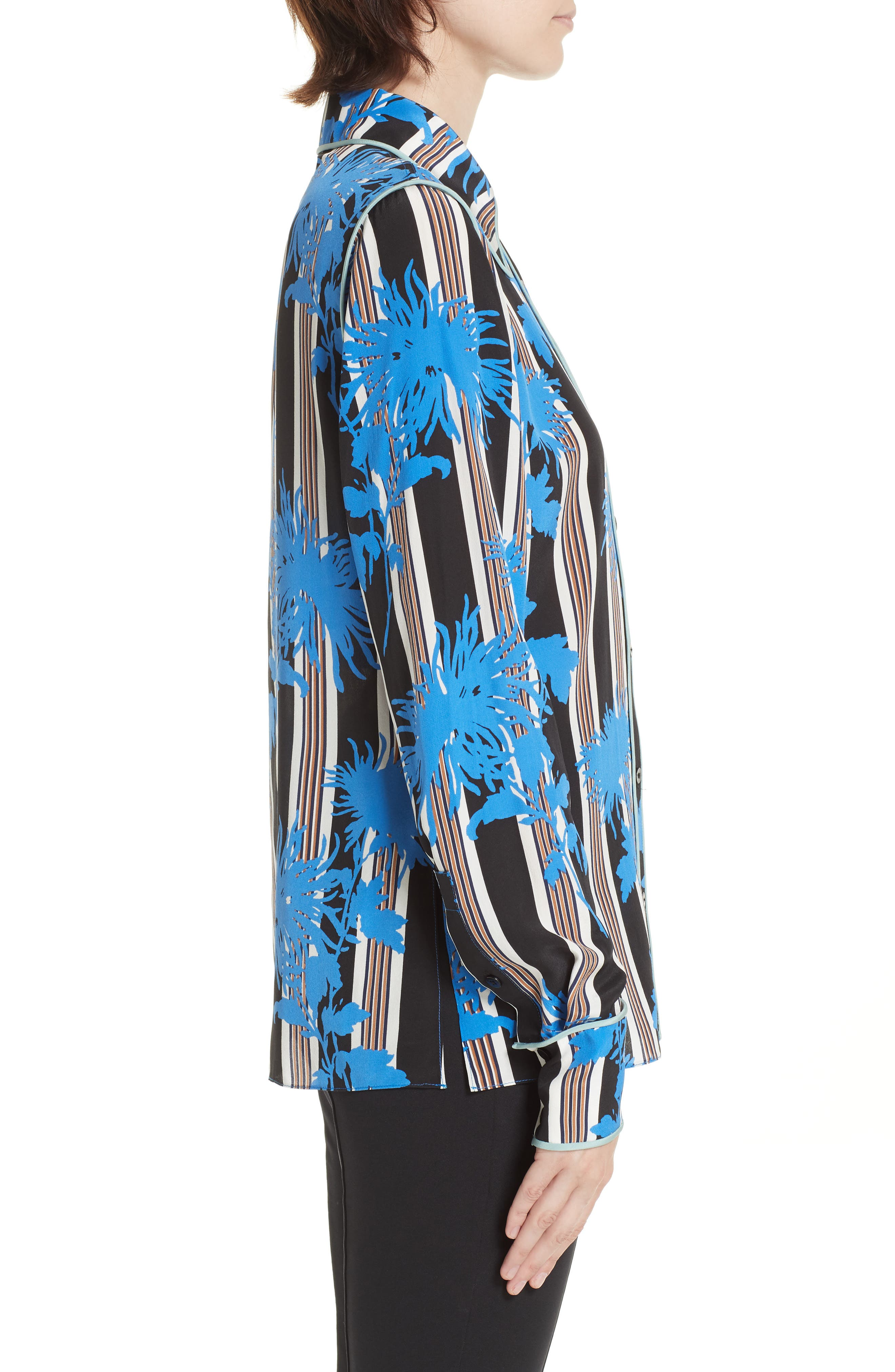 Diane von Furstenberg Floral Print Silk Shirt,                             Alternate thumbnail 3, color,                             SHELFORD B