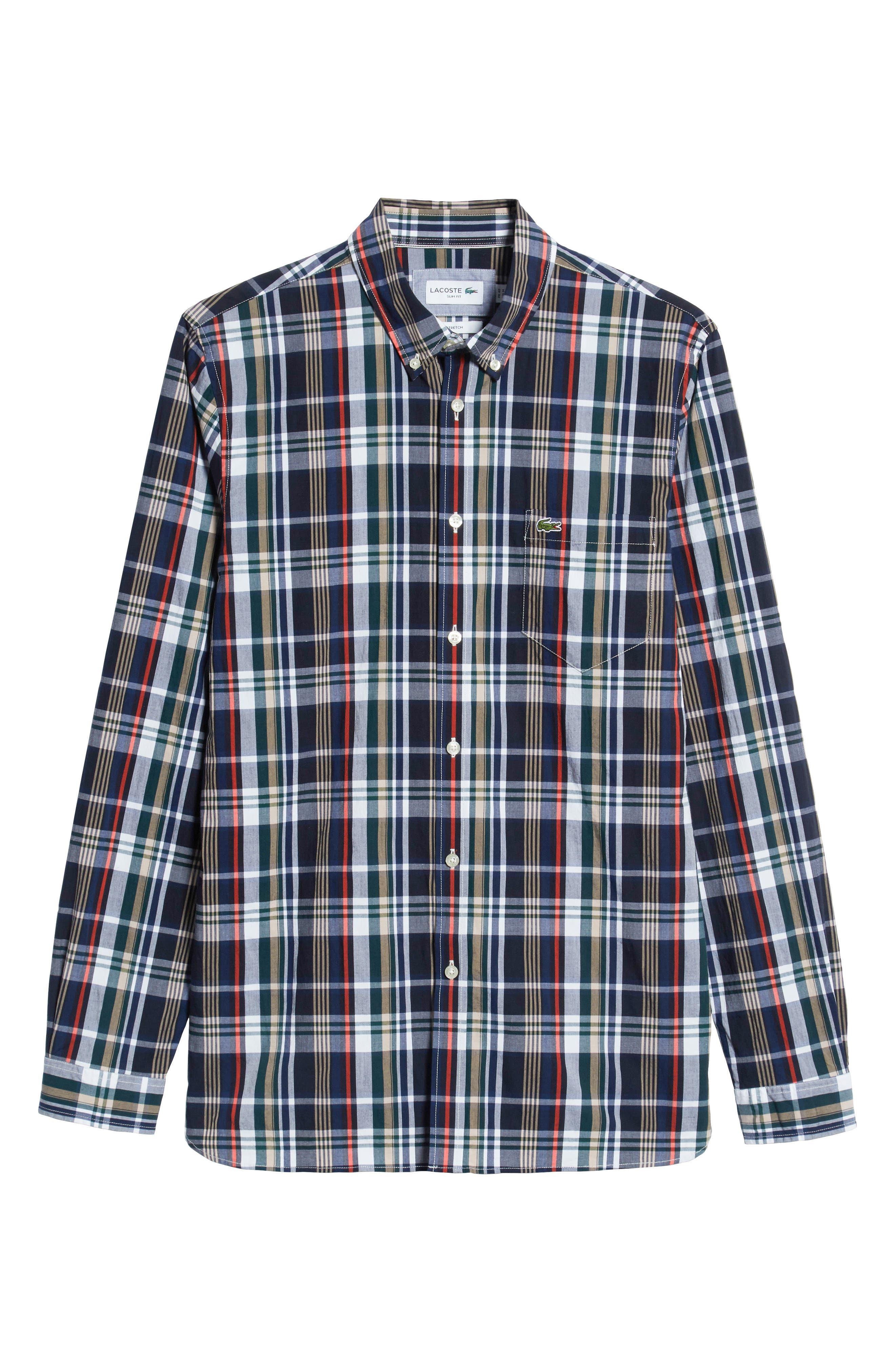 Slim Fit Plaid Sport Shirt,                             Alternate thumbnail 5, color,                             DY5 ACONIT/ MULTICO