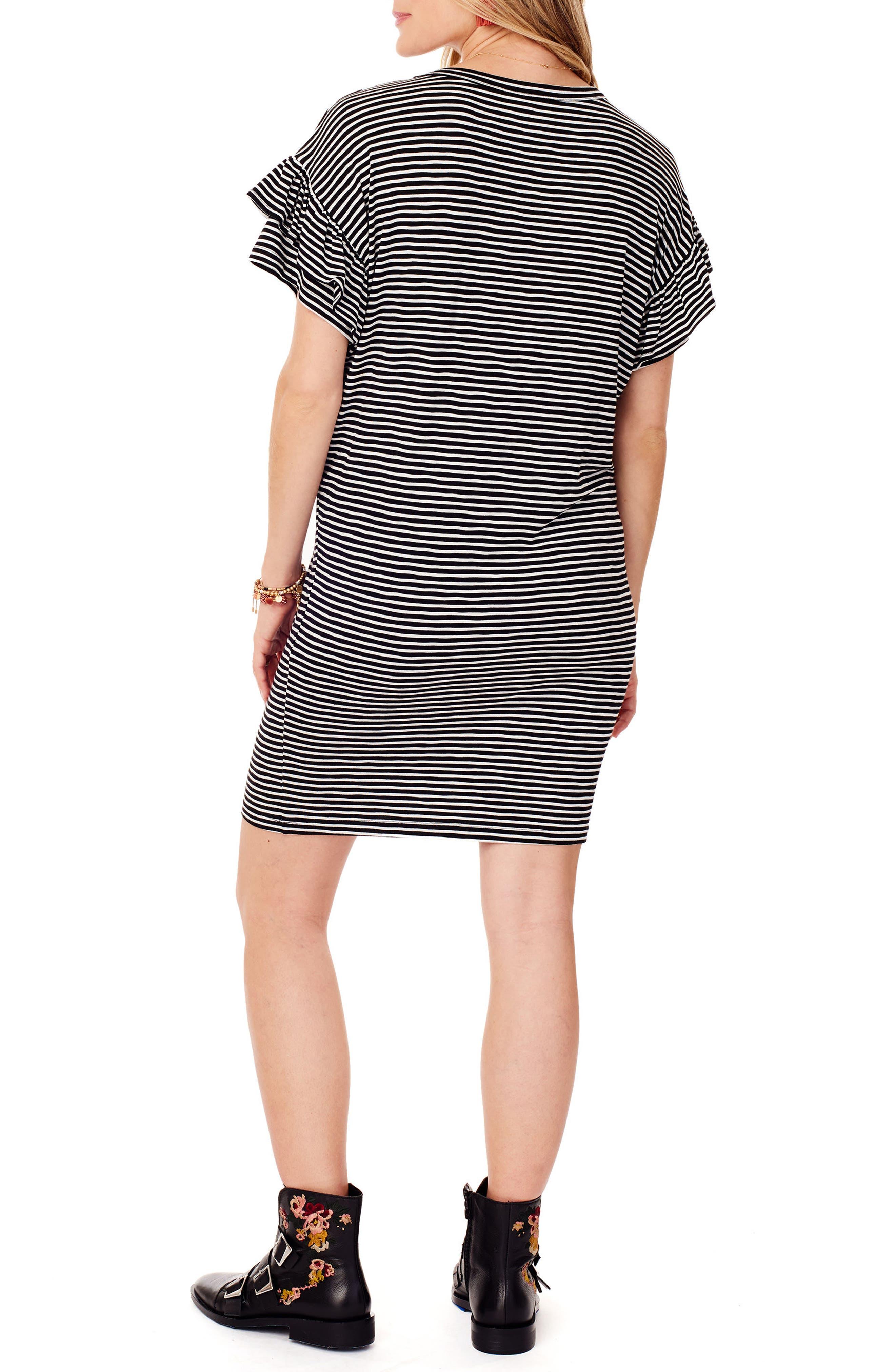 Ruffle Sleeve Maternity T-Shirt Dress,                             Alternate thumbnail 2, color,                             BLACK/ WHITE STRIPE