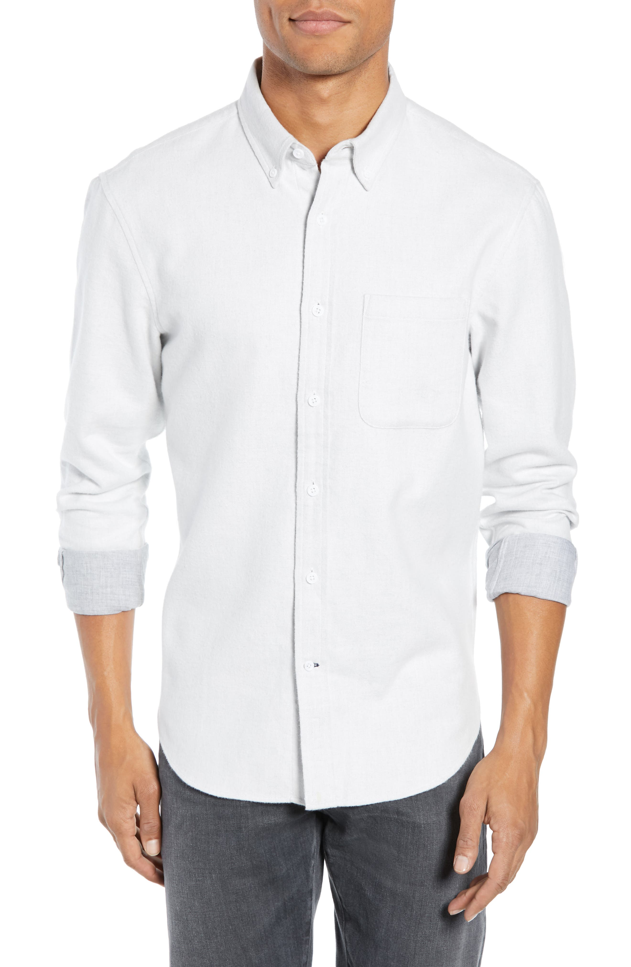 Trim Fit Double Face Twill Sport Shirt, Main, color, 105