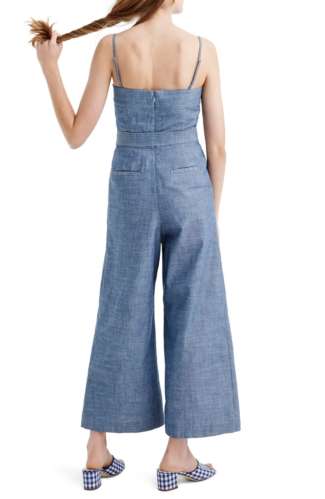 Marseille Cotton Chambray Jumpsuit,                             Alternate thumbnail 2, color,                             400