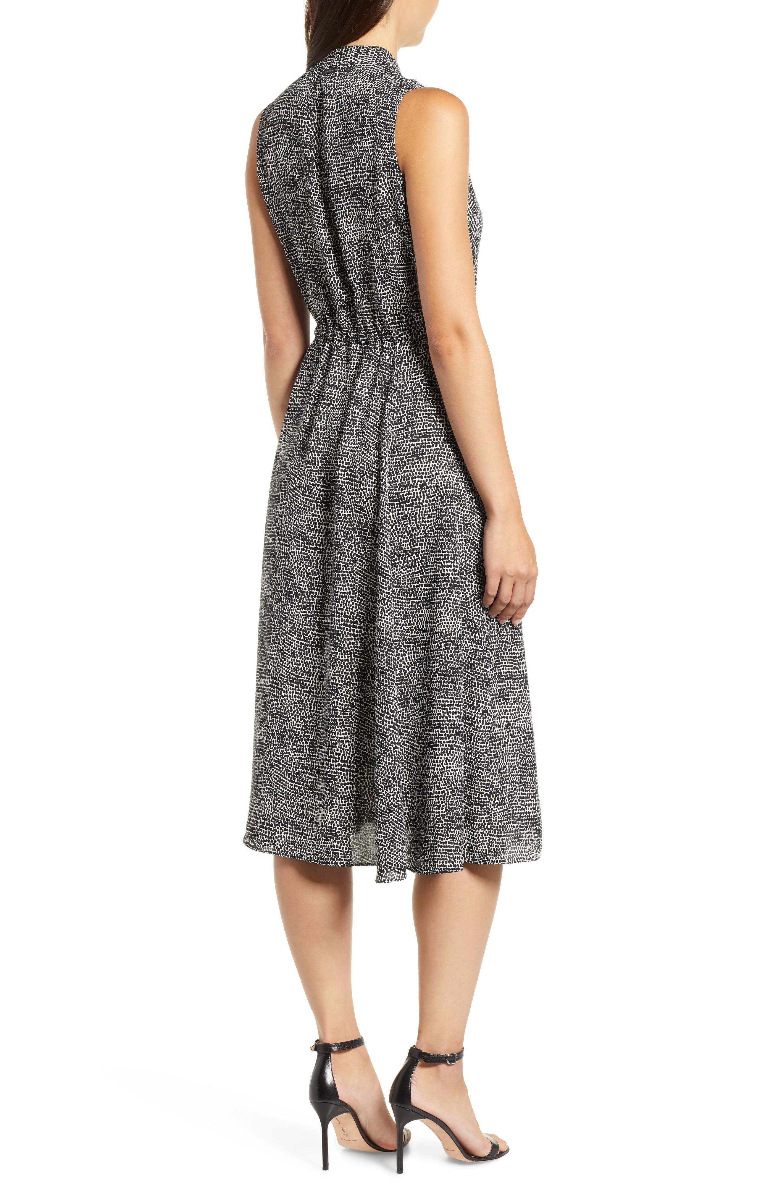 Sleeveless Print Midi Dress,                             Alternate thumbnail 2, color,                             ANNE WHITE/ ANNE BLACK
