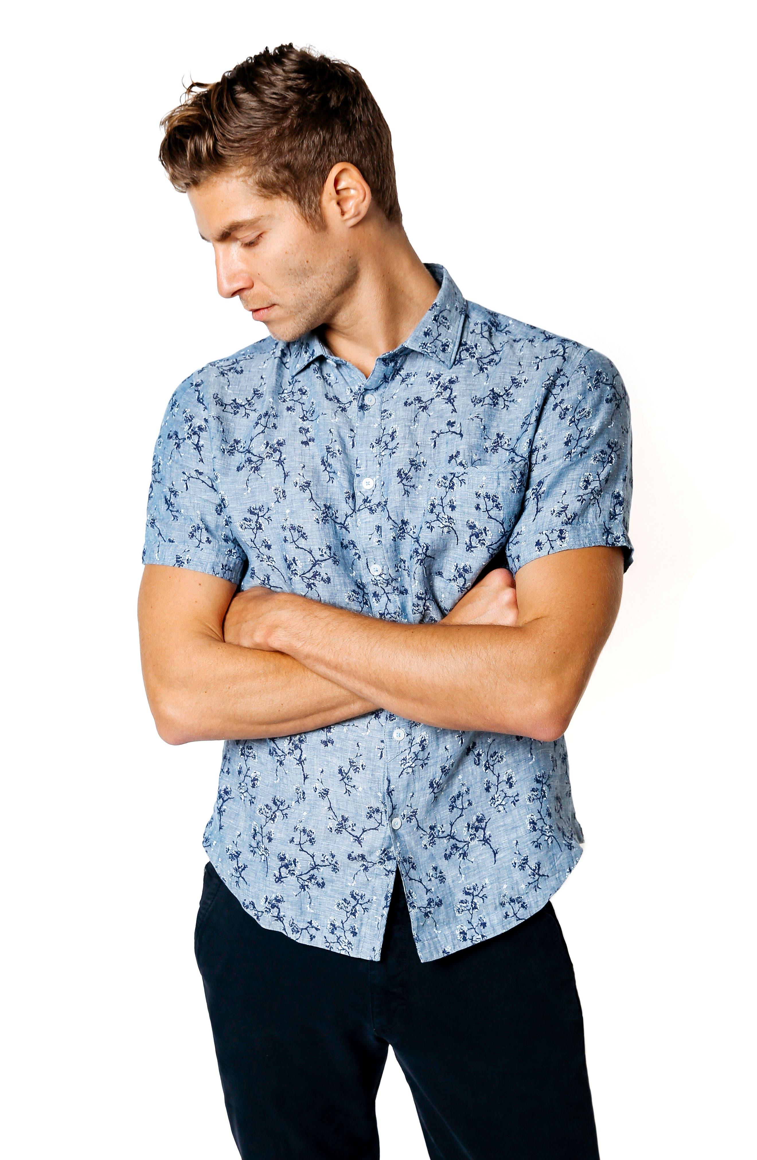 Trim Fit Floral Sport Shirt,                             Alternate thumbnail 7, color,                             401