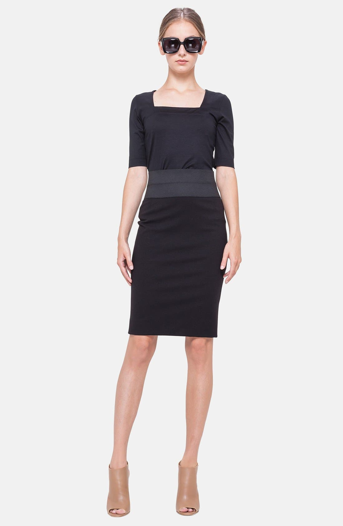 Pencil Skirt,                             Alternate thumbnail 5, color,                             BLACK