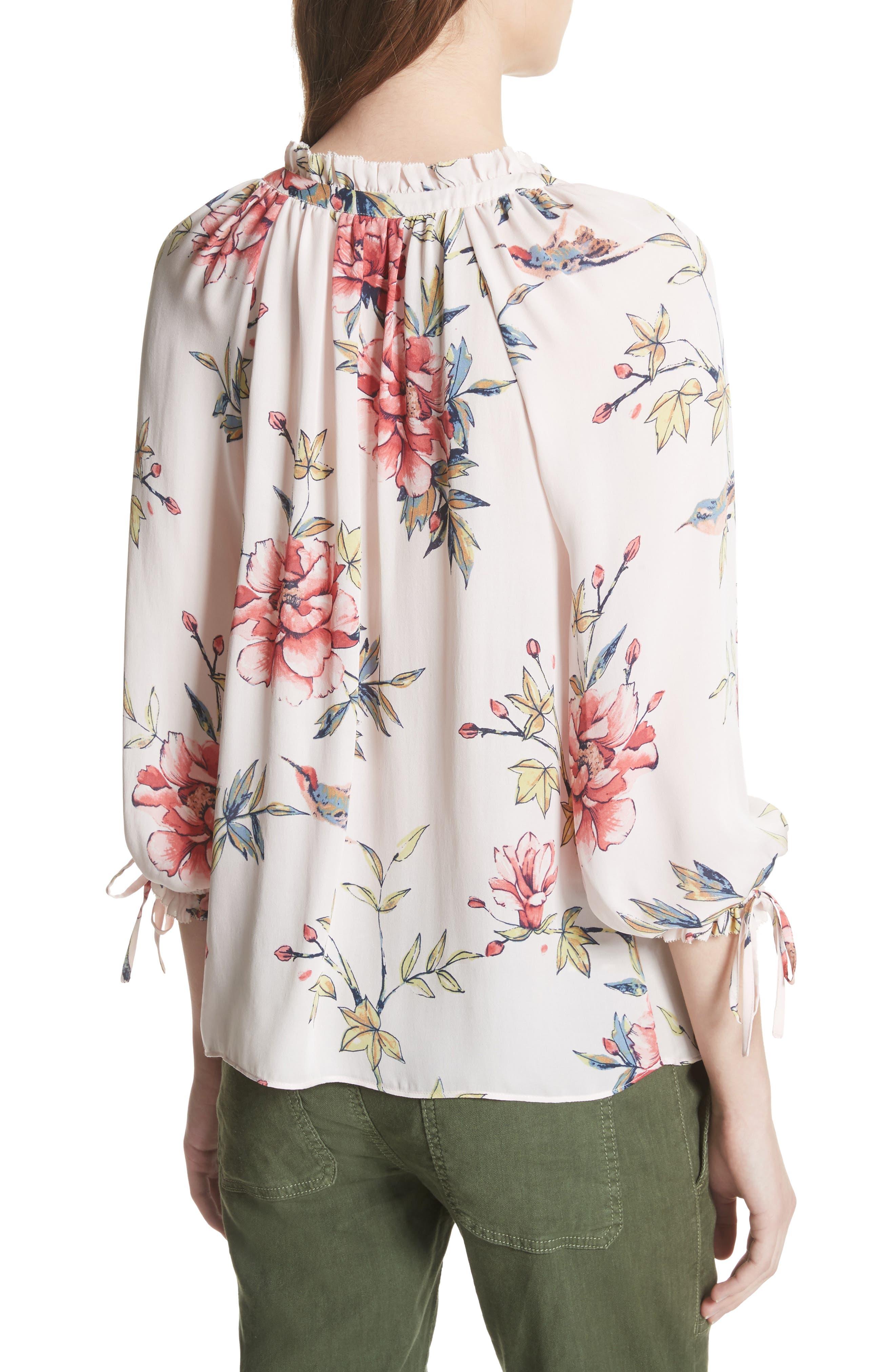 Corsen Floral Silk Blouse,                             Alternate thumbnail 4, color,