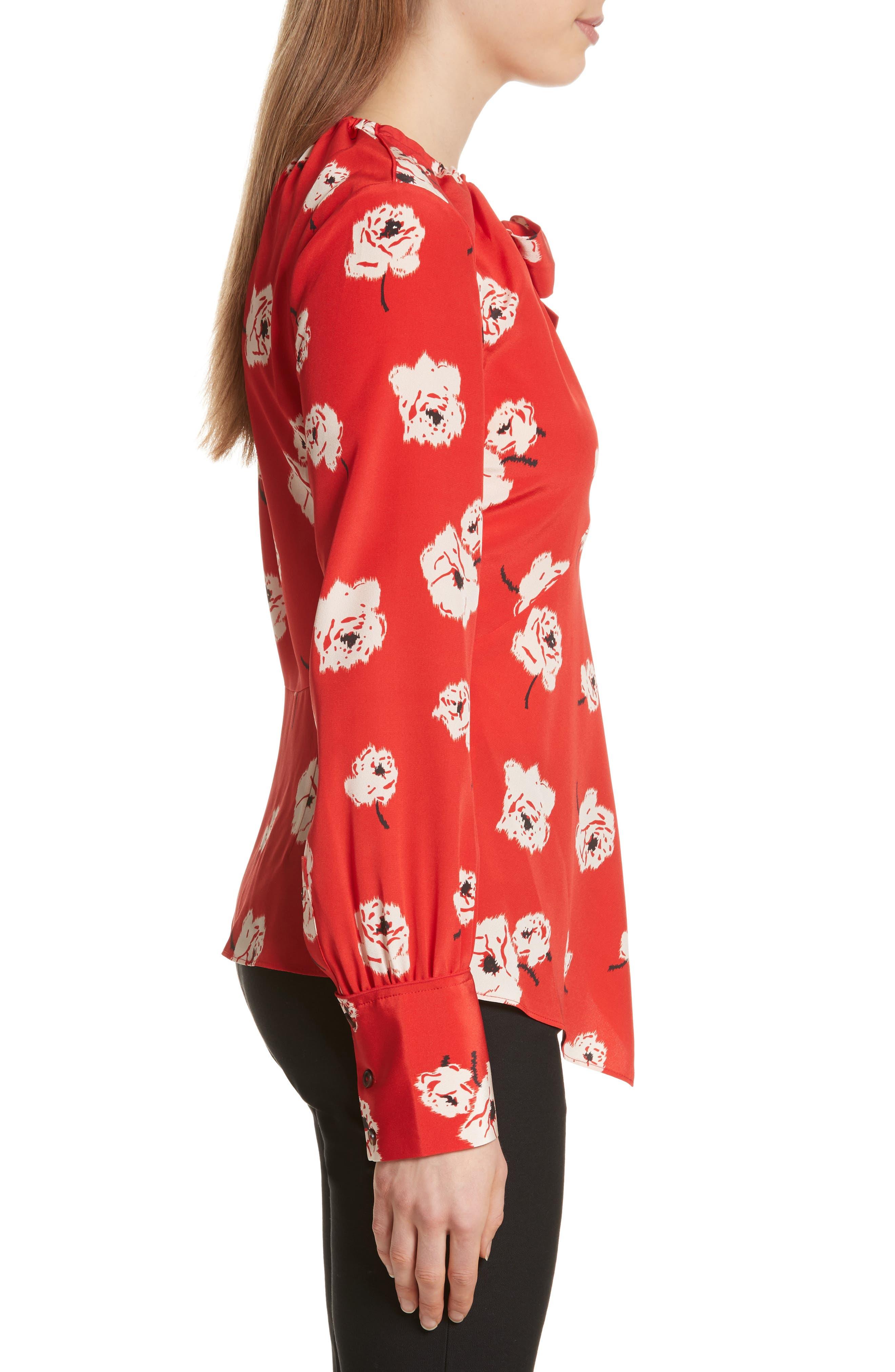 Asymmetrical Floral Silk Blouse,                             Alternate thumbnail 3, color,                             623