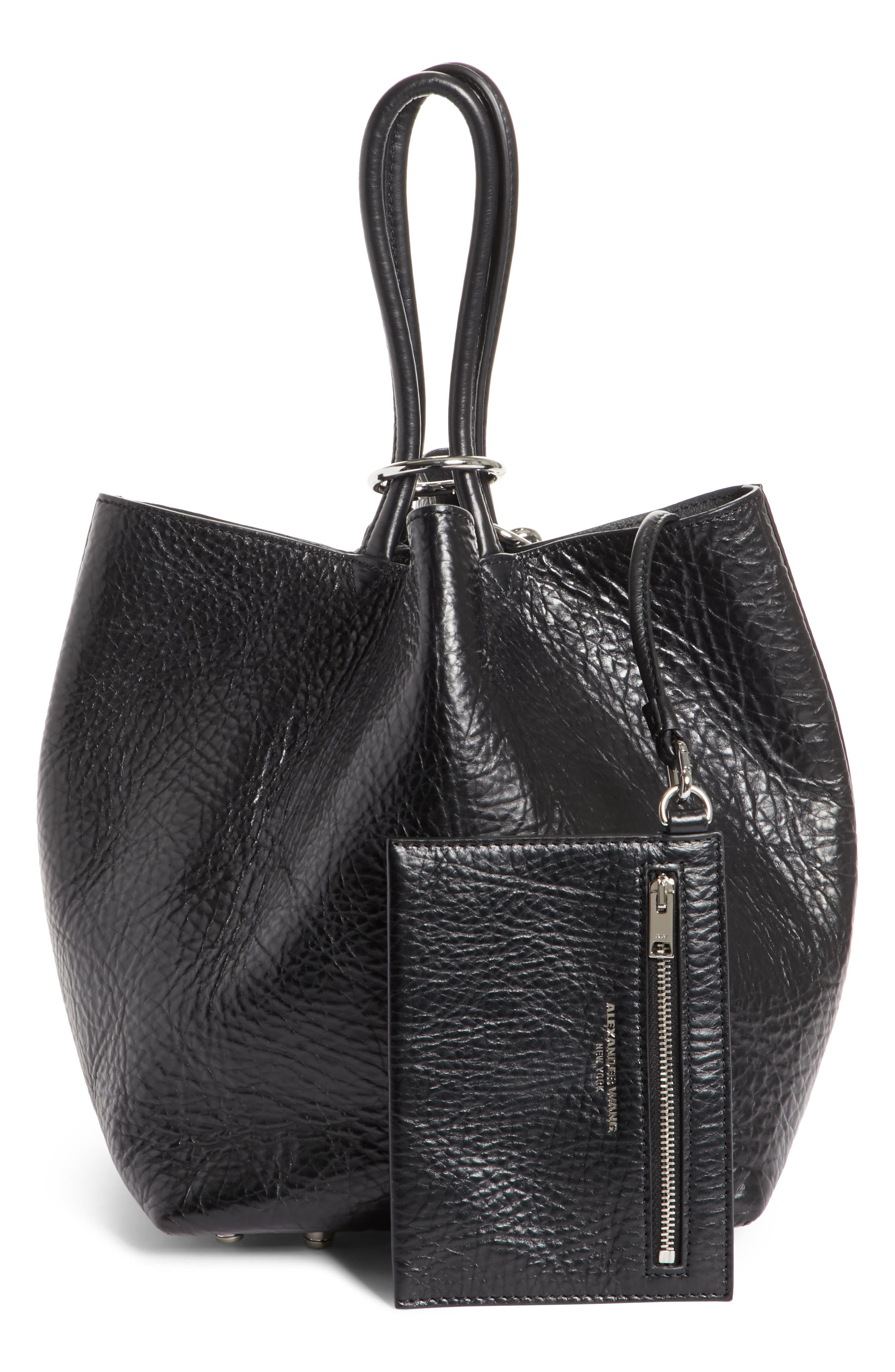 Small Roxy Covered Chain Leather Bucket Bag,                             Alternate thumbnail 3, color,                             BLACK