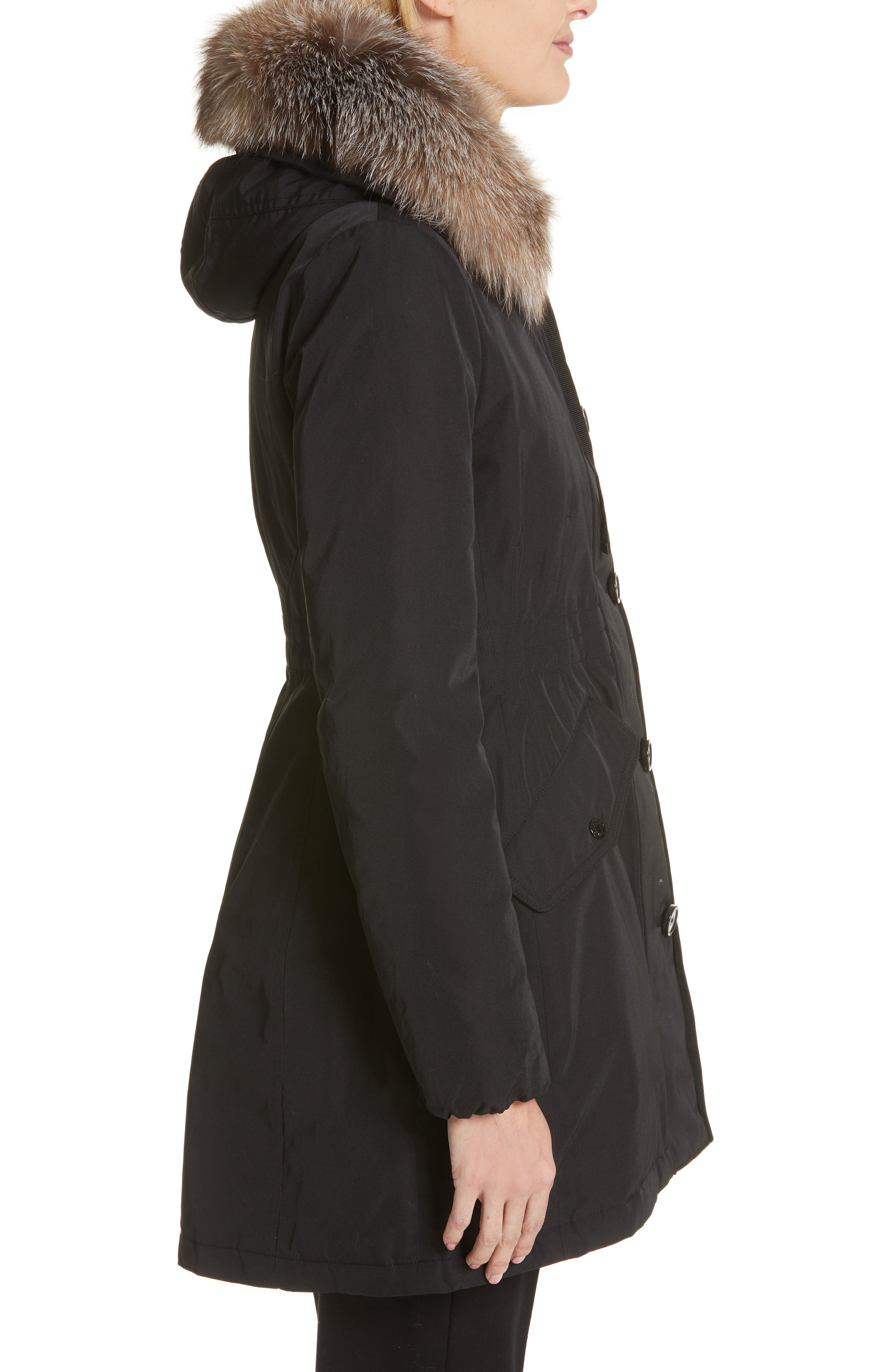 Monticole Hooded Down Coat with Removable Genuine Fox Fur Trim,                             Alternate thumbnail 4, color,                             BLACK