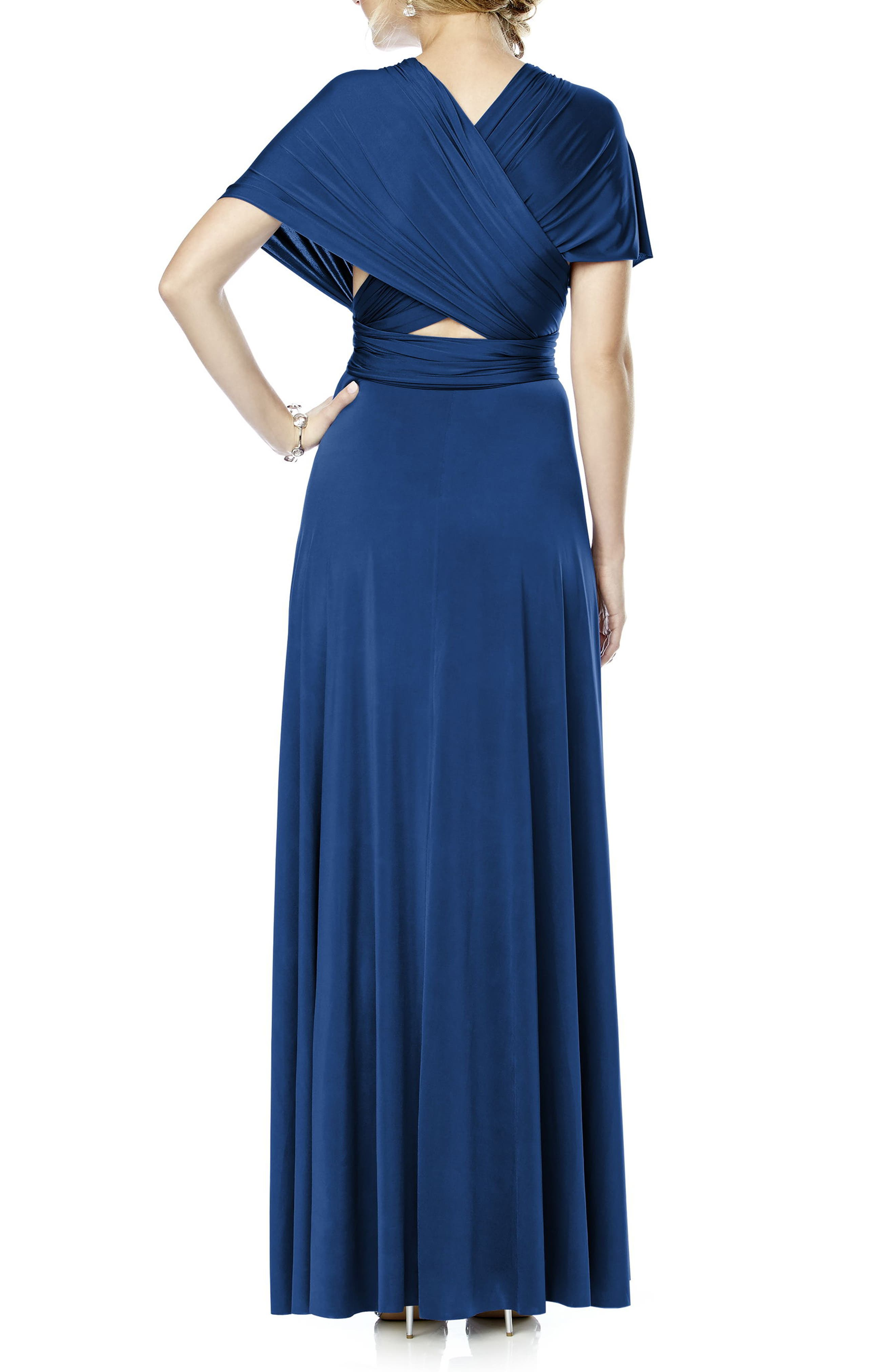 Convertible Wrap Tie Surplice Jersey Gown,                             Alternate thumbnail 22, color,