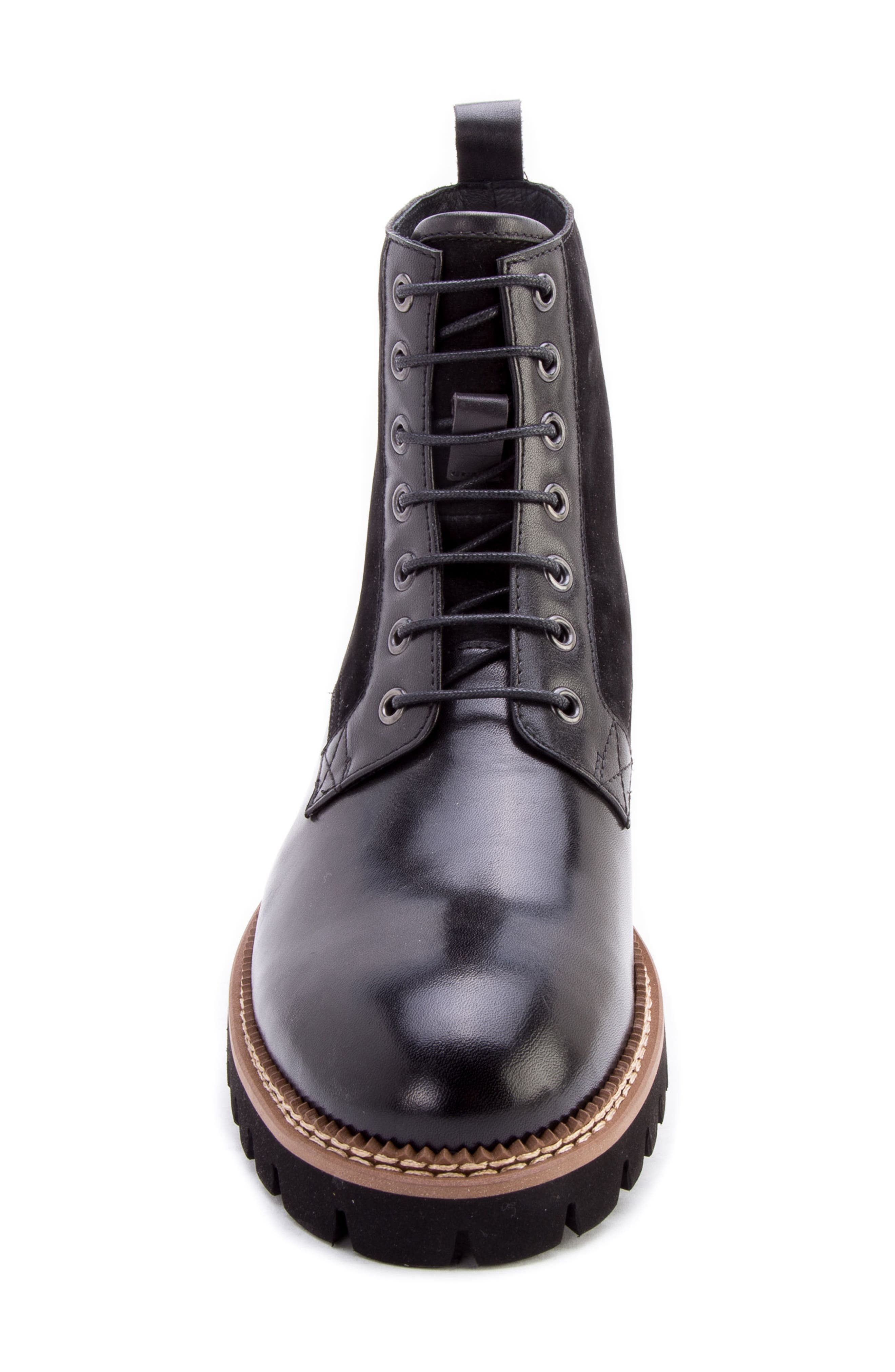 Millet Water Resistant Lugged Boot,                             Alternate thumbnail 5, color,                             BLACK LEATHER