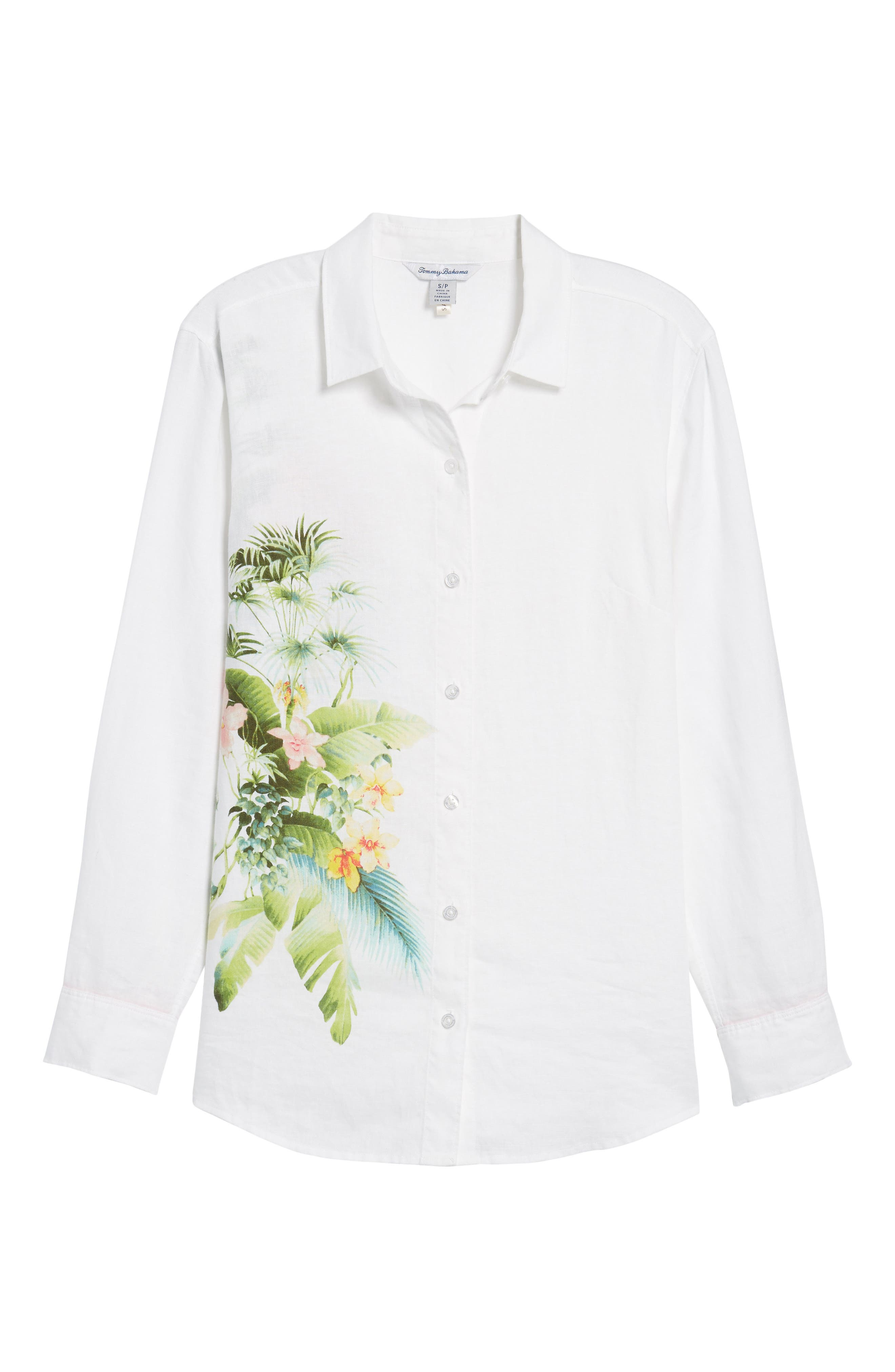 Queen Palms Linen Shirt,                             Alternate thumbnail 6, color,                             WHITE