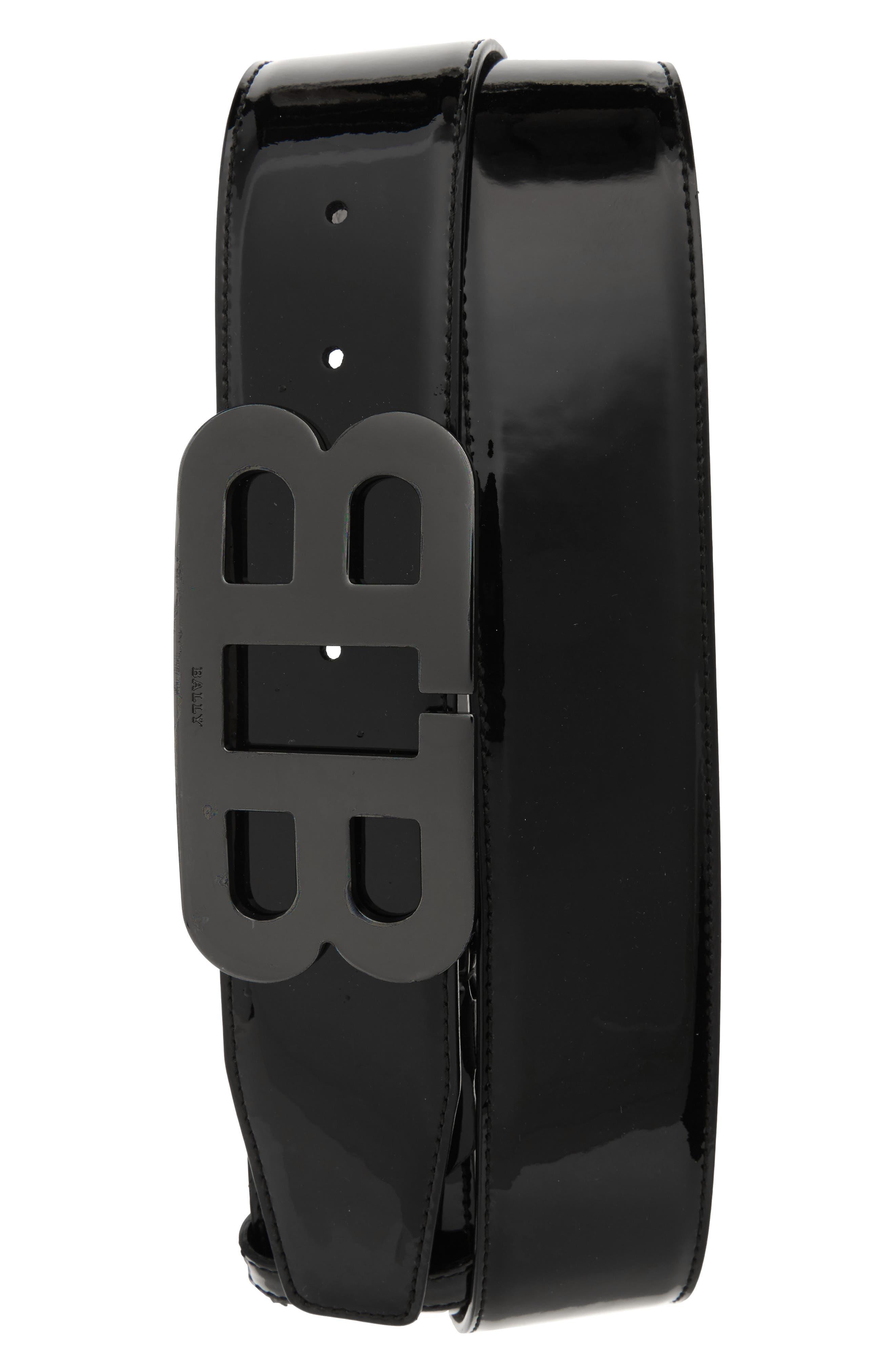 Mirror Buckle Leather Belt,                         Main,                         color, BLACK