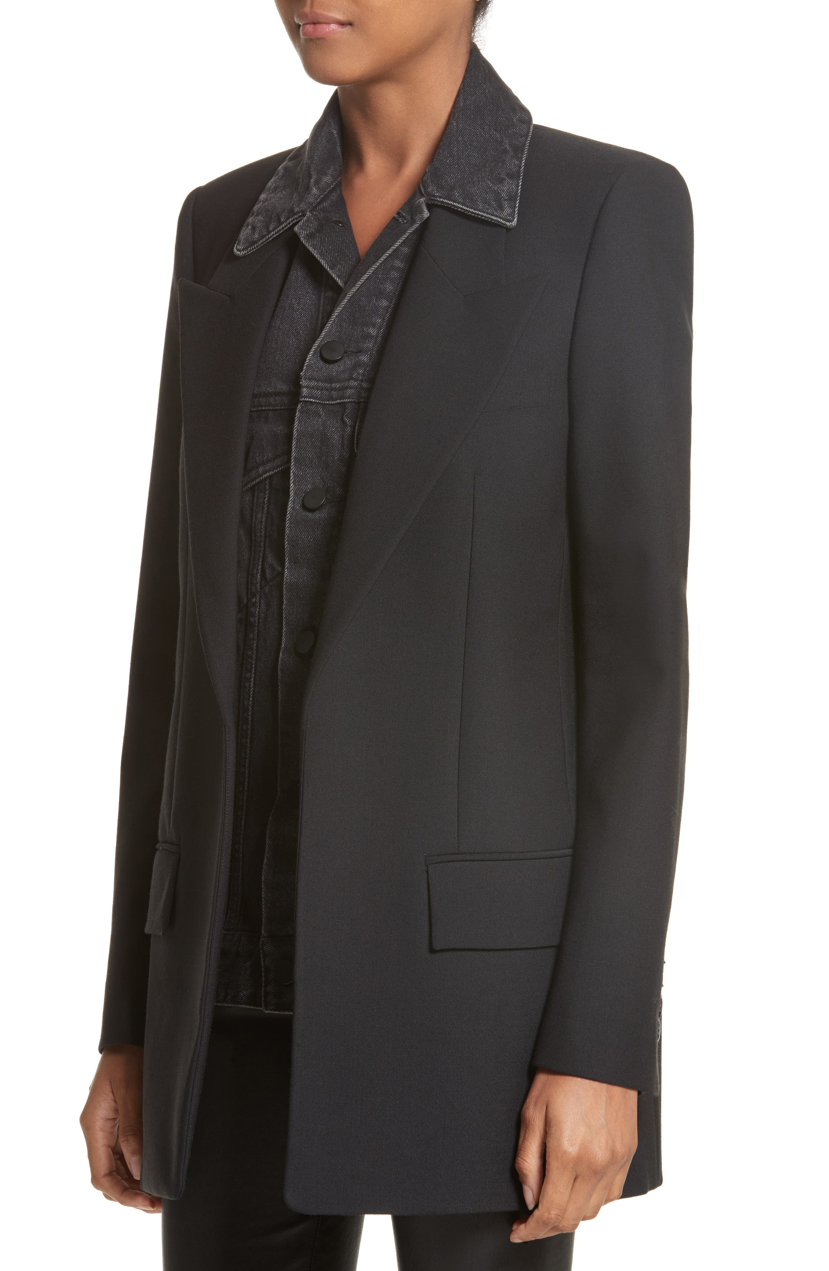 Denim & Wool Blend Layered Jacket,                             Alternate thumbnail 4, color,                             001