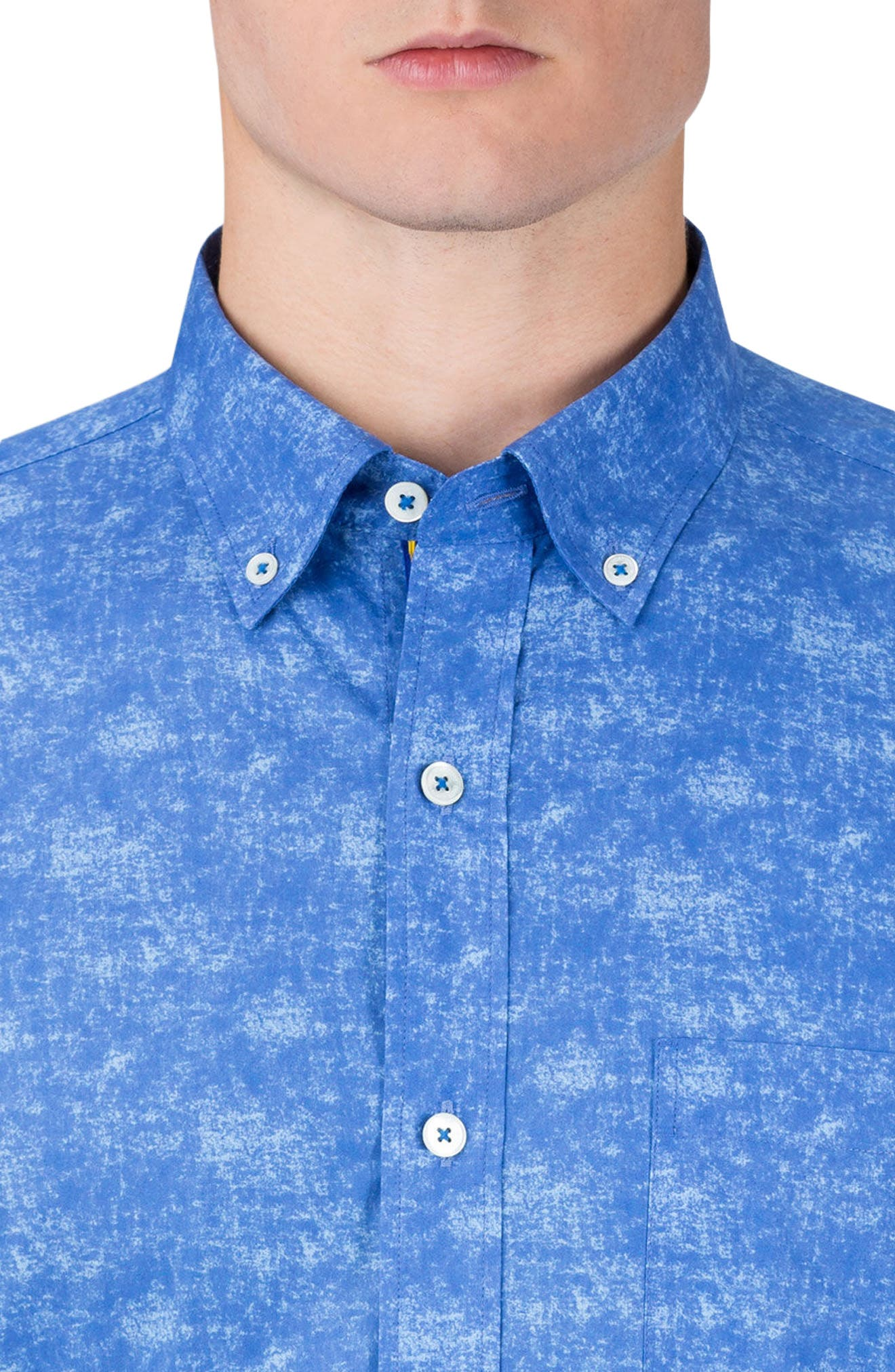 Shaped Fit Print Sport Shirt,                             Alternate thumbnail 3, color,