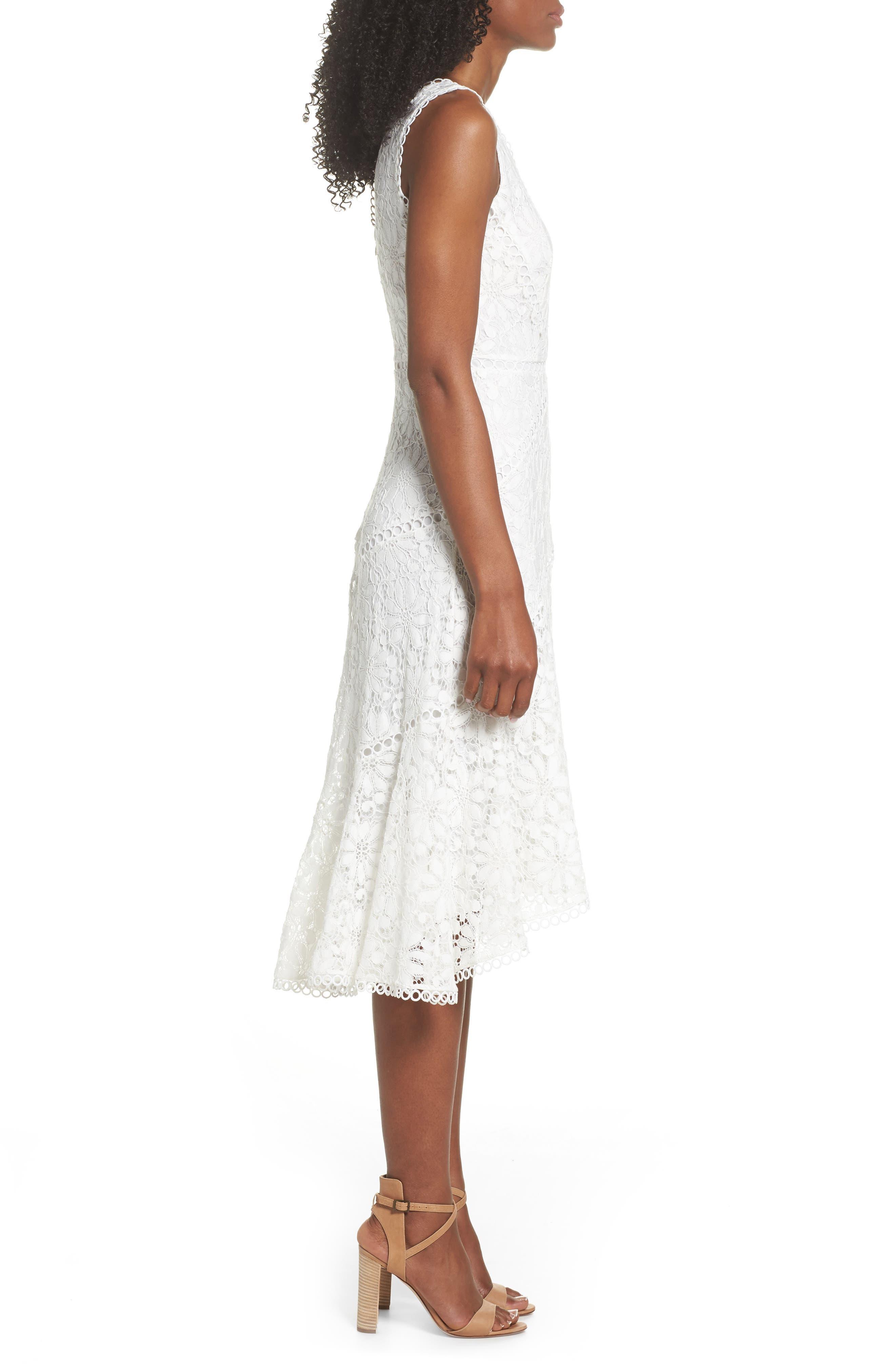 Lace Midi Dress,                             Alternate thumbnail 3, color,                             902
