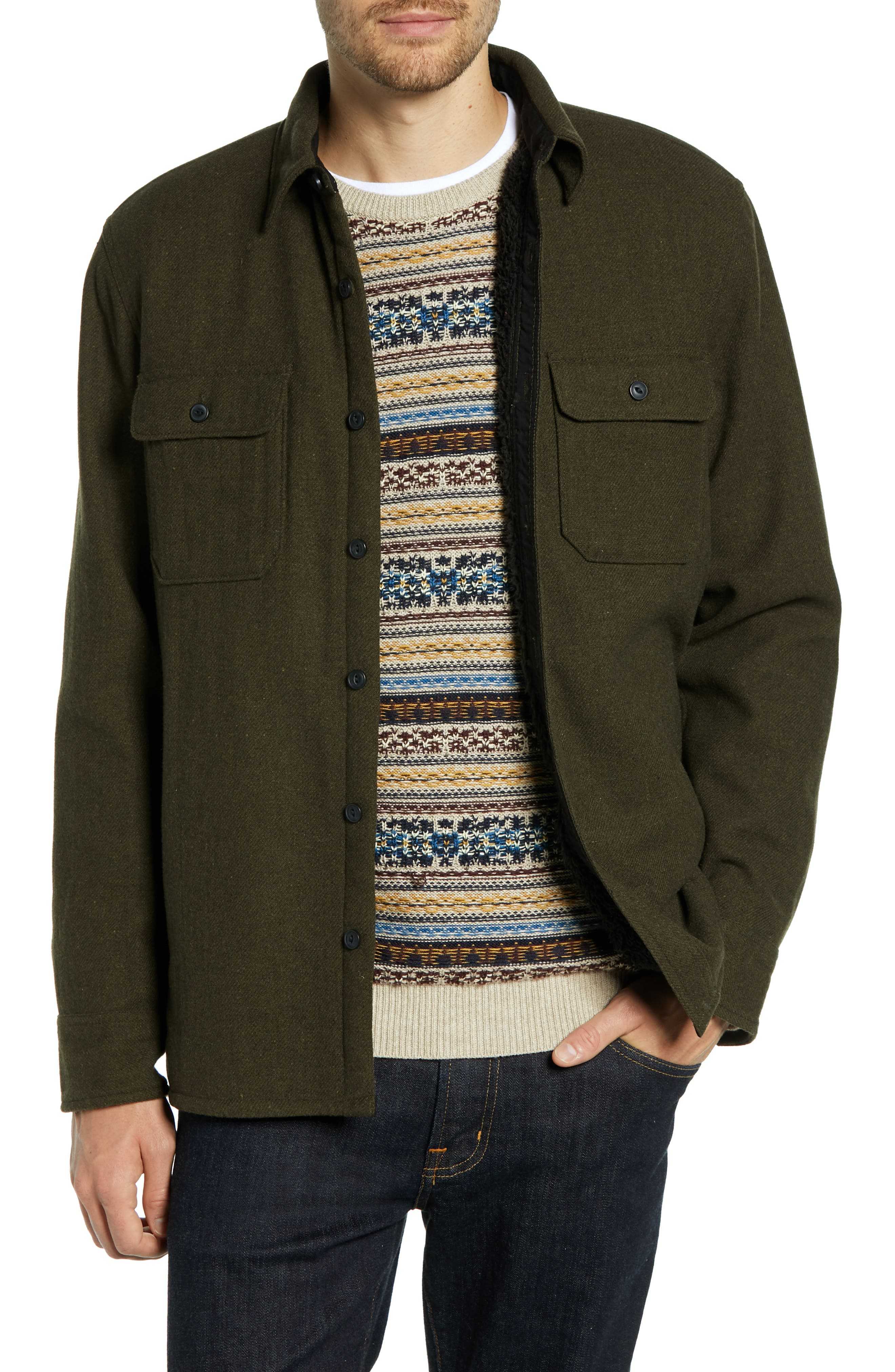 Lined Wool Blend Shirt Jacket,                         Main,                         color, GREEN FOREST HEATHER