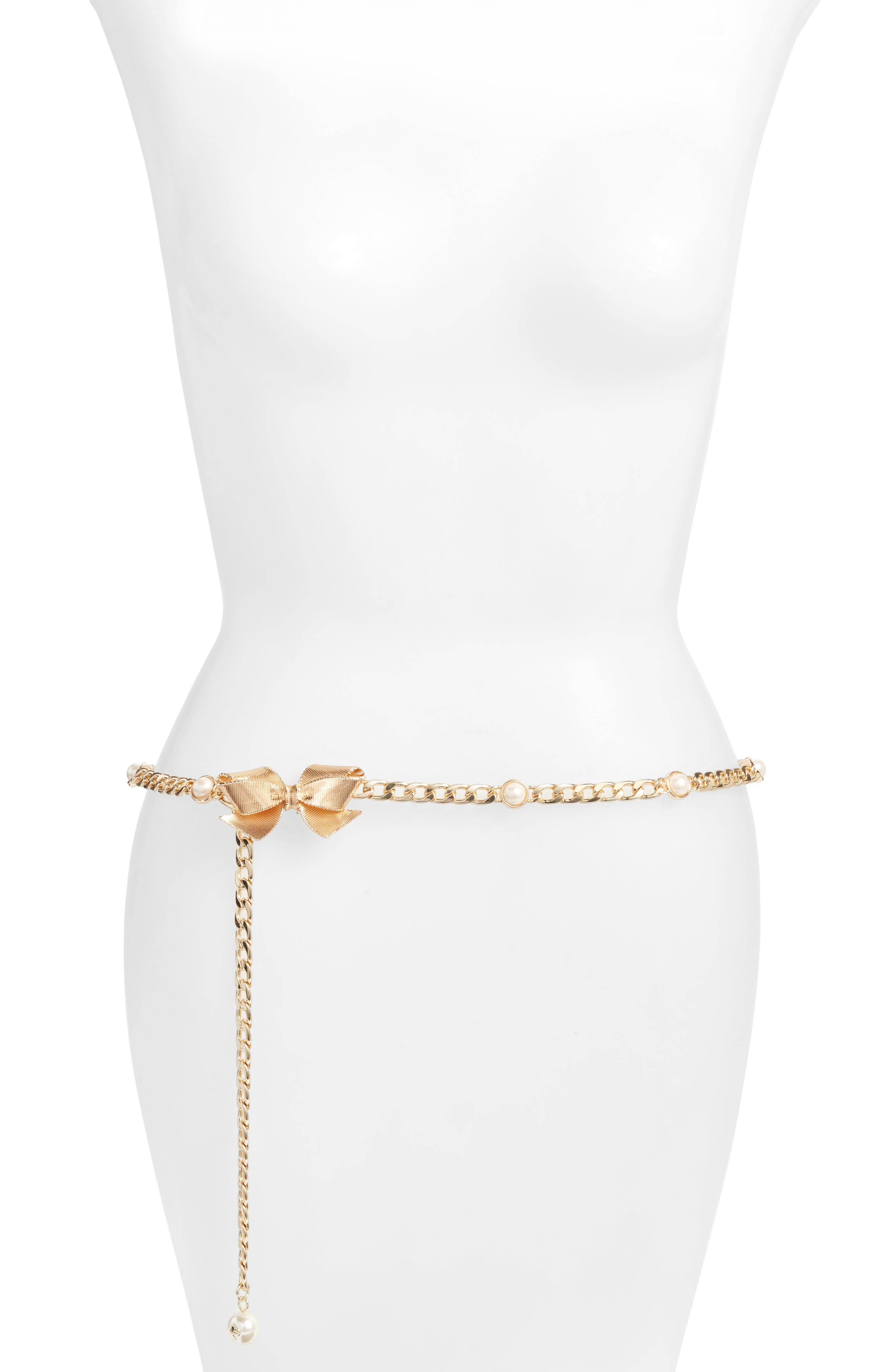 bow & imitation pearl chain belt,                             Main thumbnail 2, color,