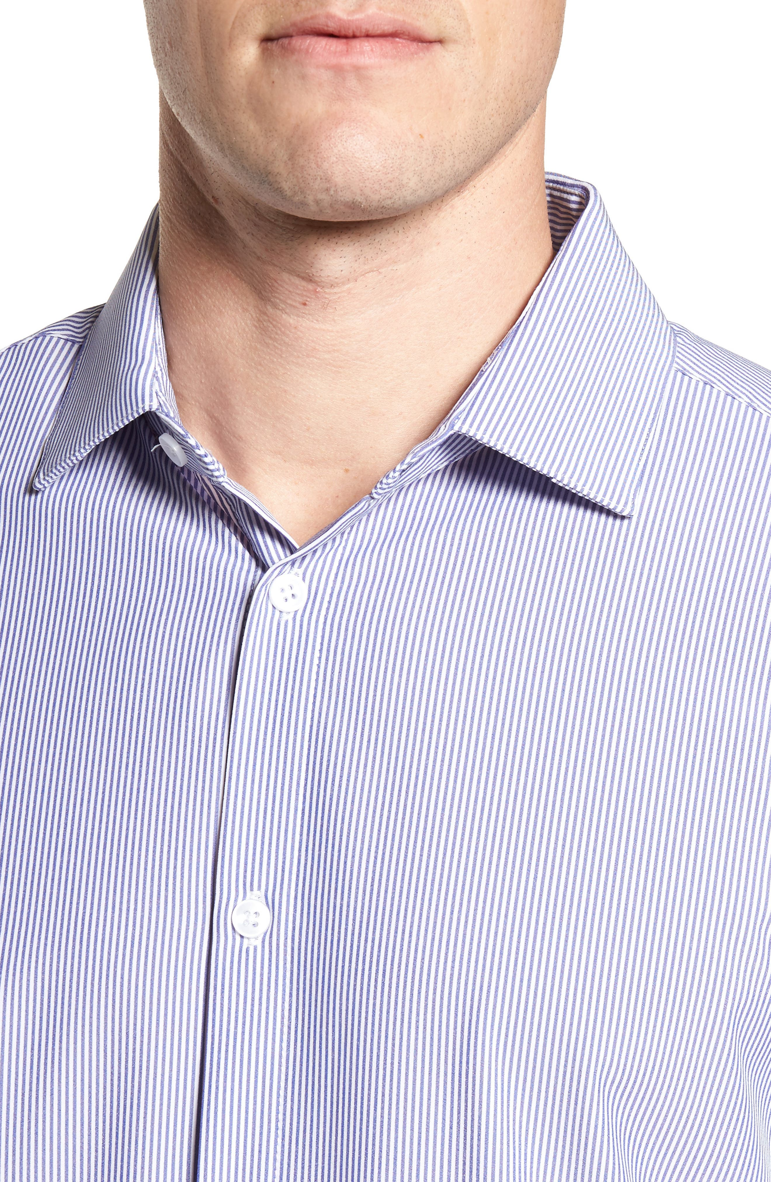 Newport Pinstripe Sport Shirt,                             Alternate thumbnail 4, color,