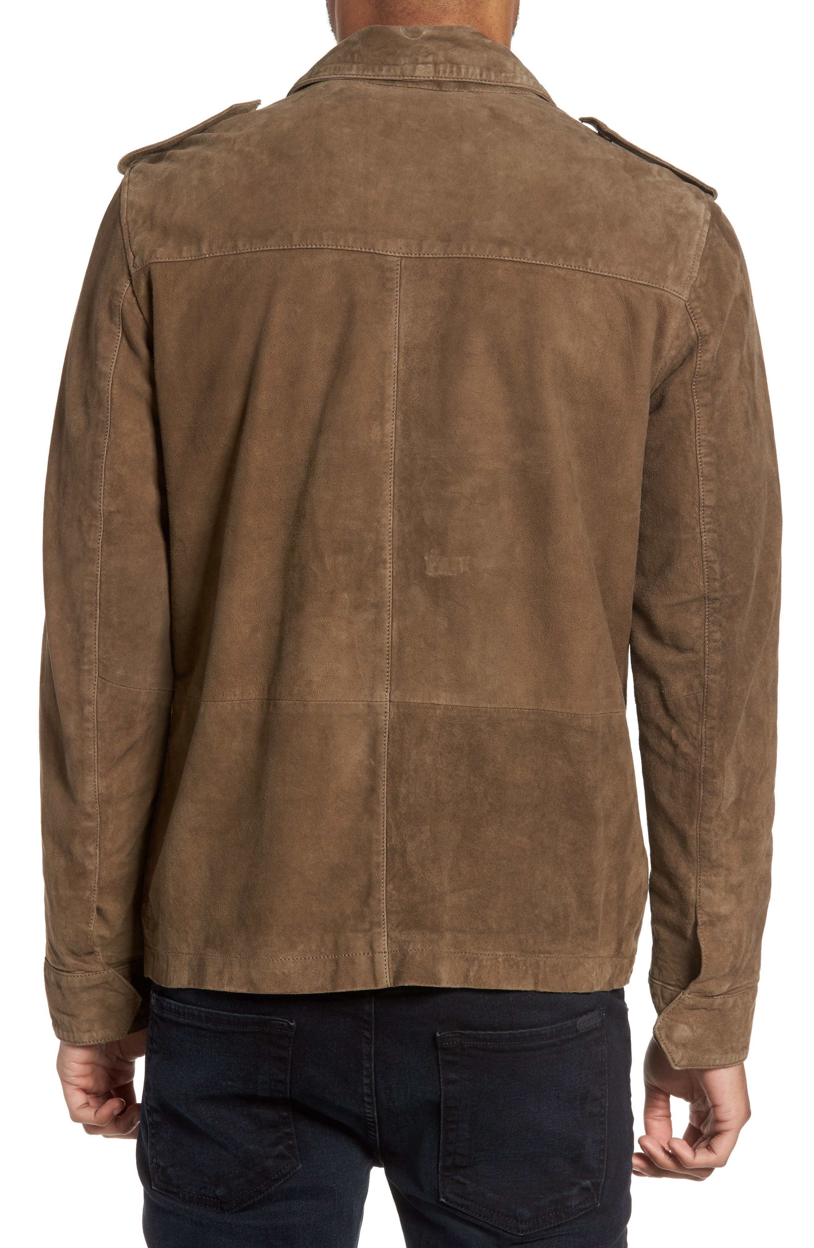Washed Suede Military Shirt Jacket,                             Alternate thumbnail 3, color,