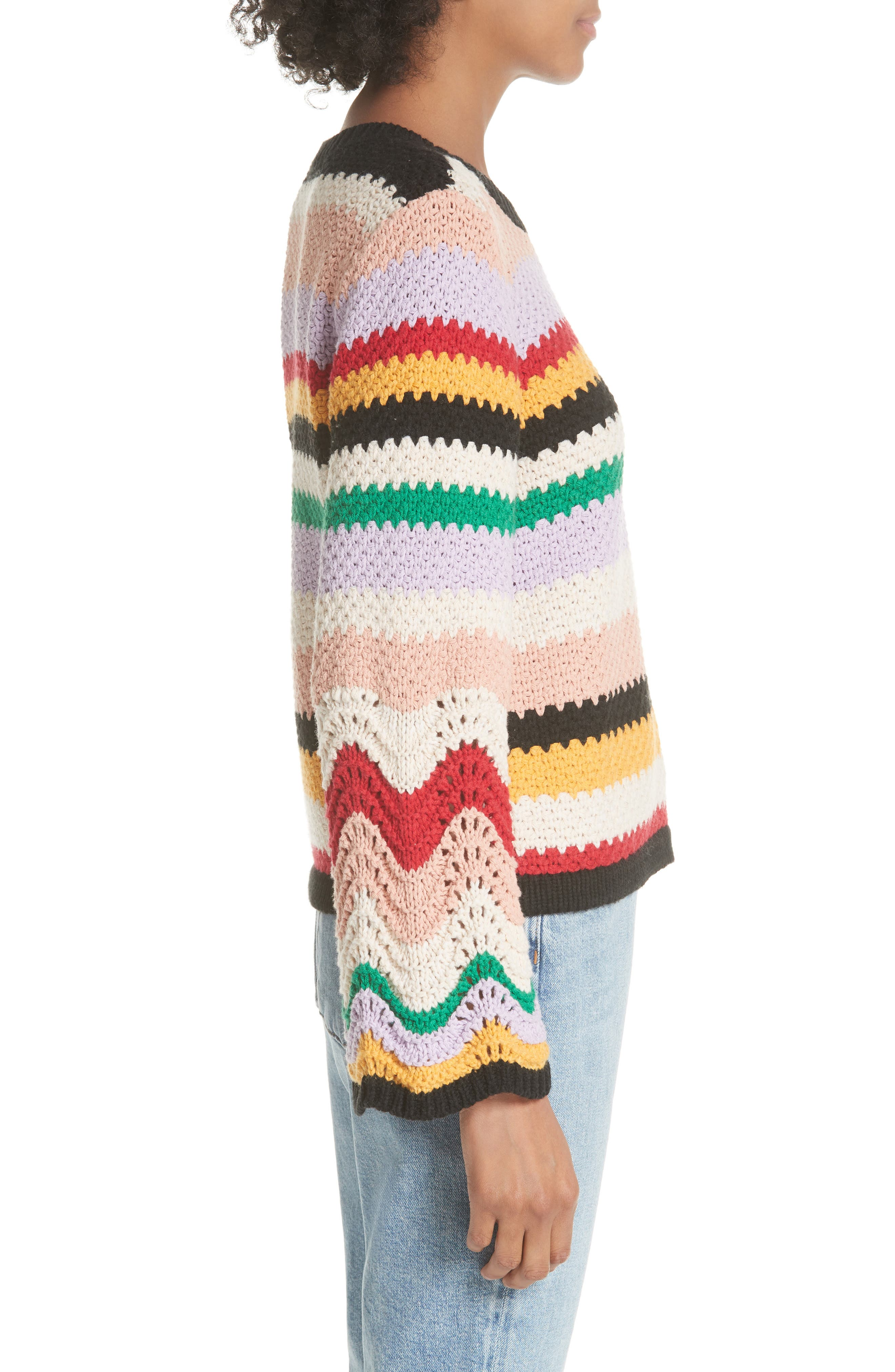 Alivia Stripe Bell Sleeve Cotton Blend Sweater,                             Alternate thumbnail 3, color,                             MULTI