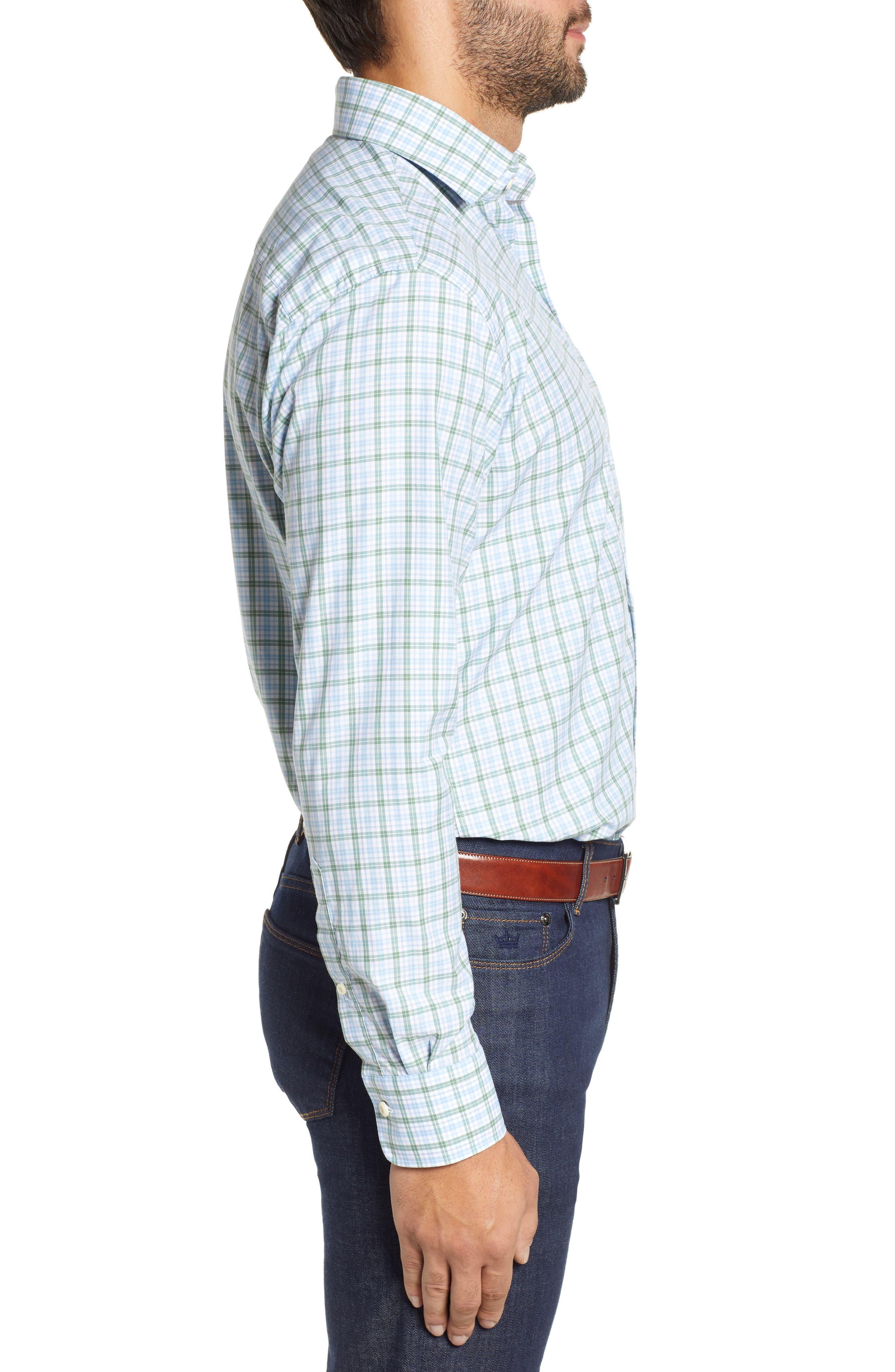 Crown Finish Linden Check Regular Fit Sport Shirt,                             Alternate thumbnail 4, color,                             BLUE