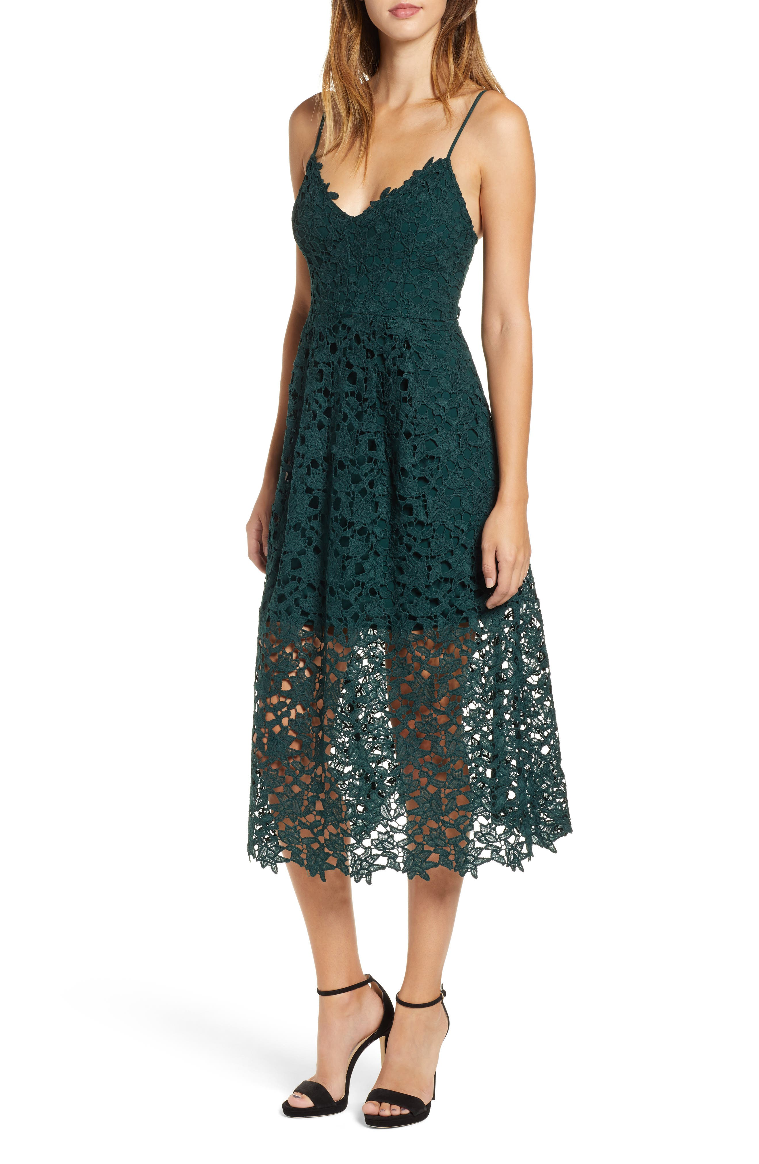 Lace Midi Dress,                             Alternate thumbnail 6, color,                             JADE GREEN