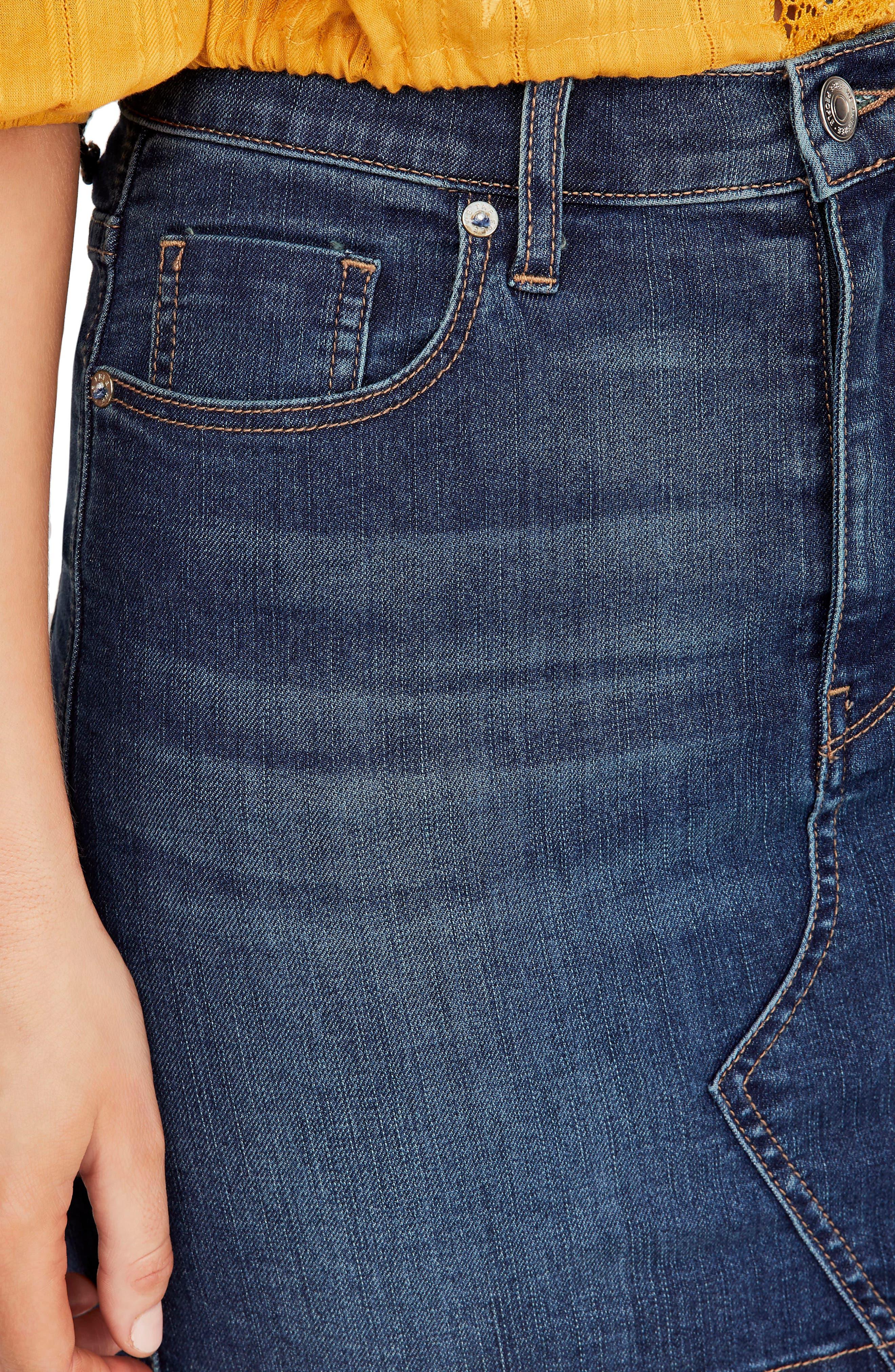 Teagan Denim Miniskirt,                             Alternate thumbnail 4, color,                             DARK DENIM
