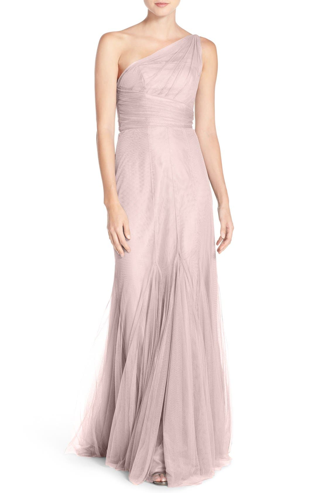 One-Shoulder Tulle Trumpet Gown,                         Main,                         color, 685