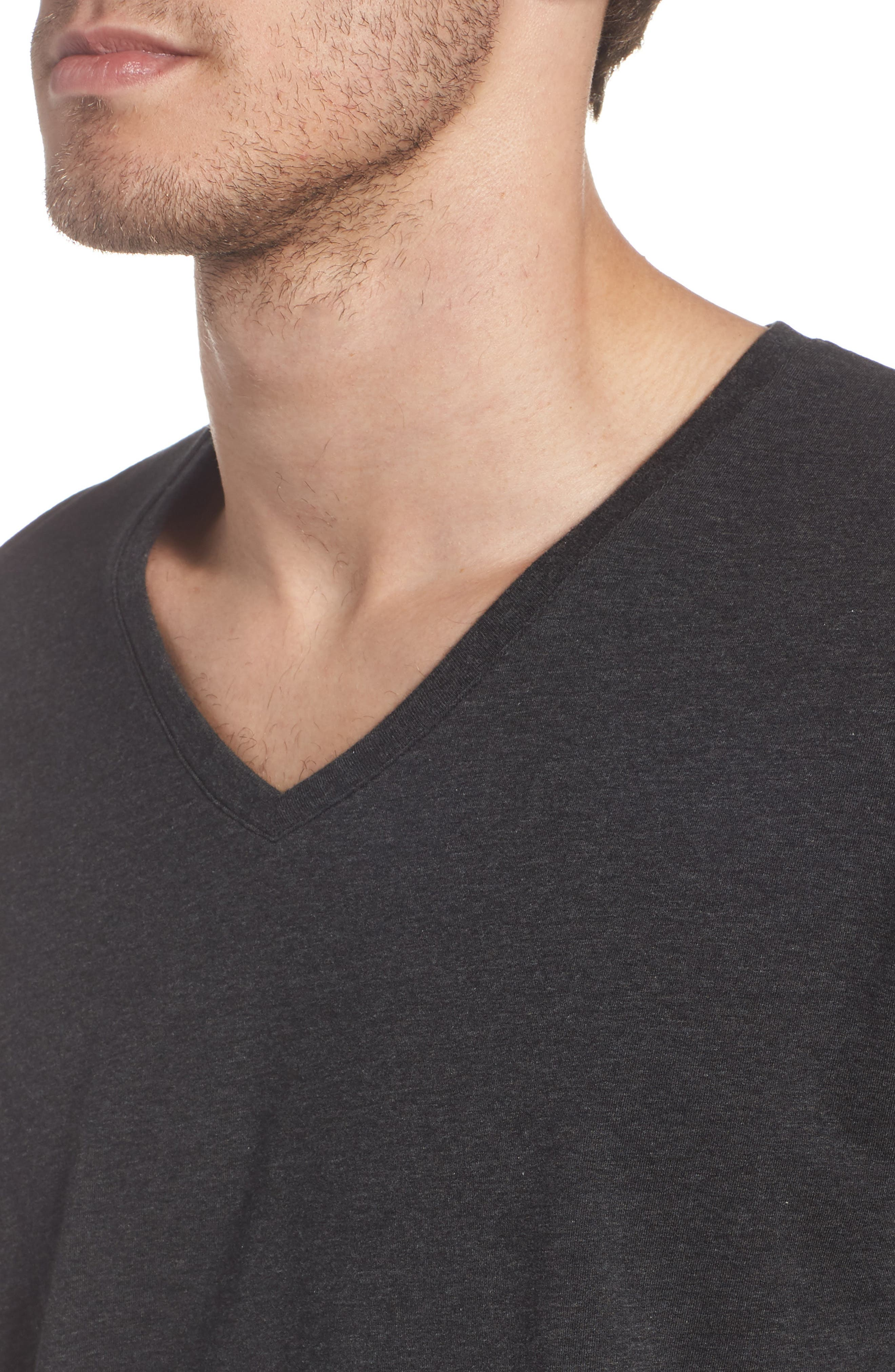 Cotton Blend V-Neck T-Shirt,                             Alternate thumbnail 4, color,                             HEATHER CHARCOAL