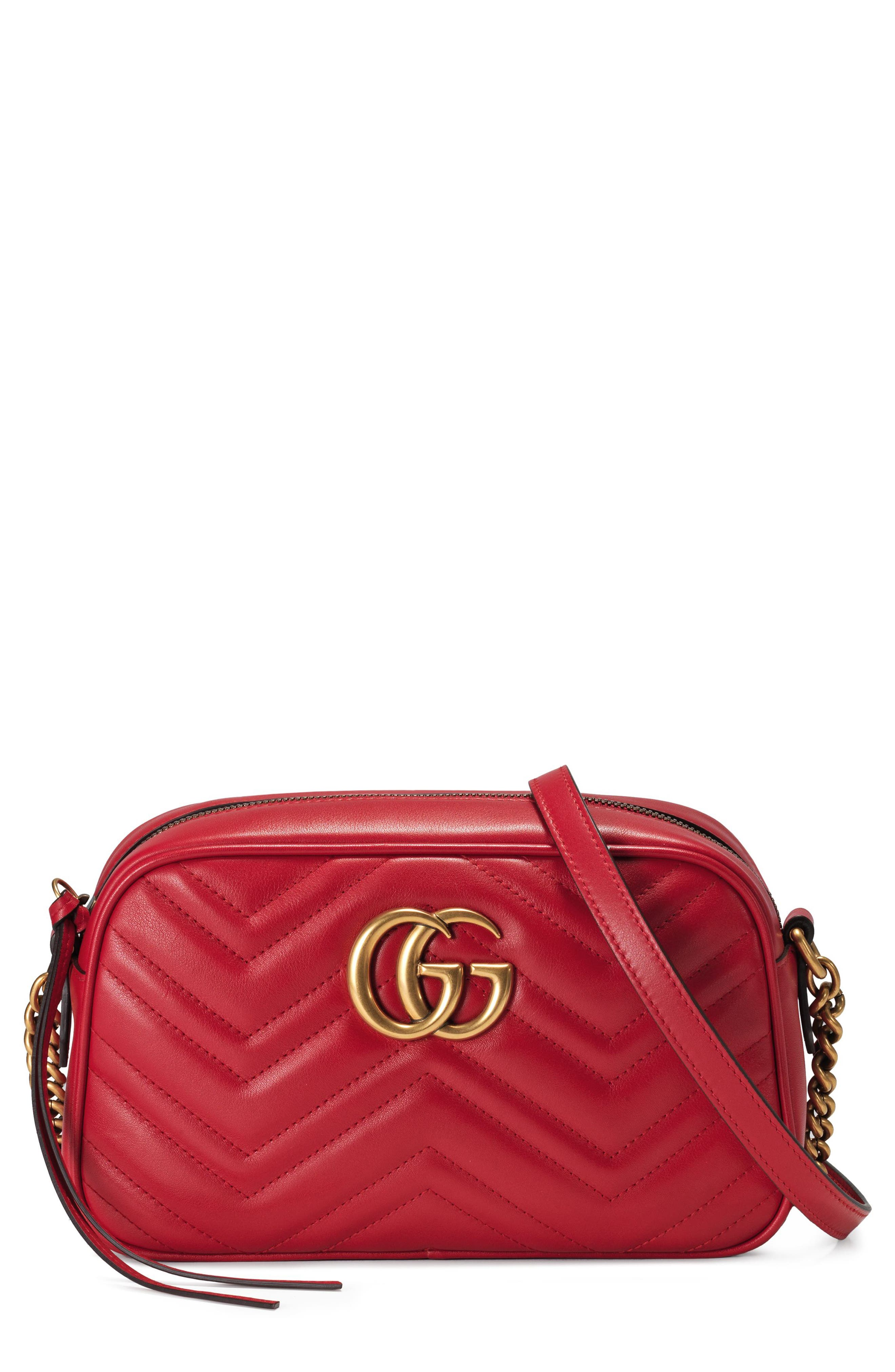 GUCCI Small GG Marmont 2.0 Matelassé Leather Camera Bag, Main, color, HIBISCUS RED/ HIBISCUS RED