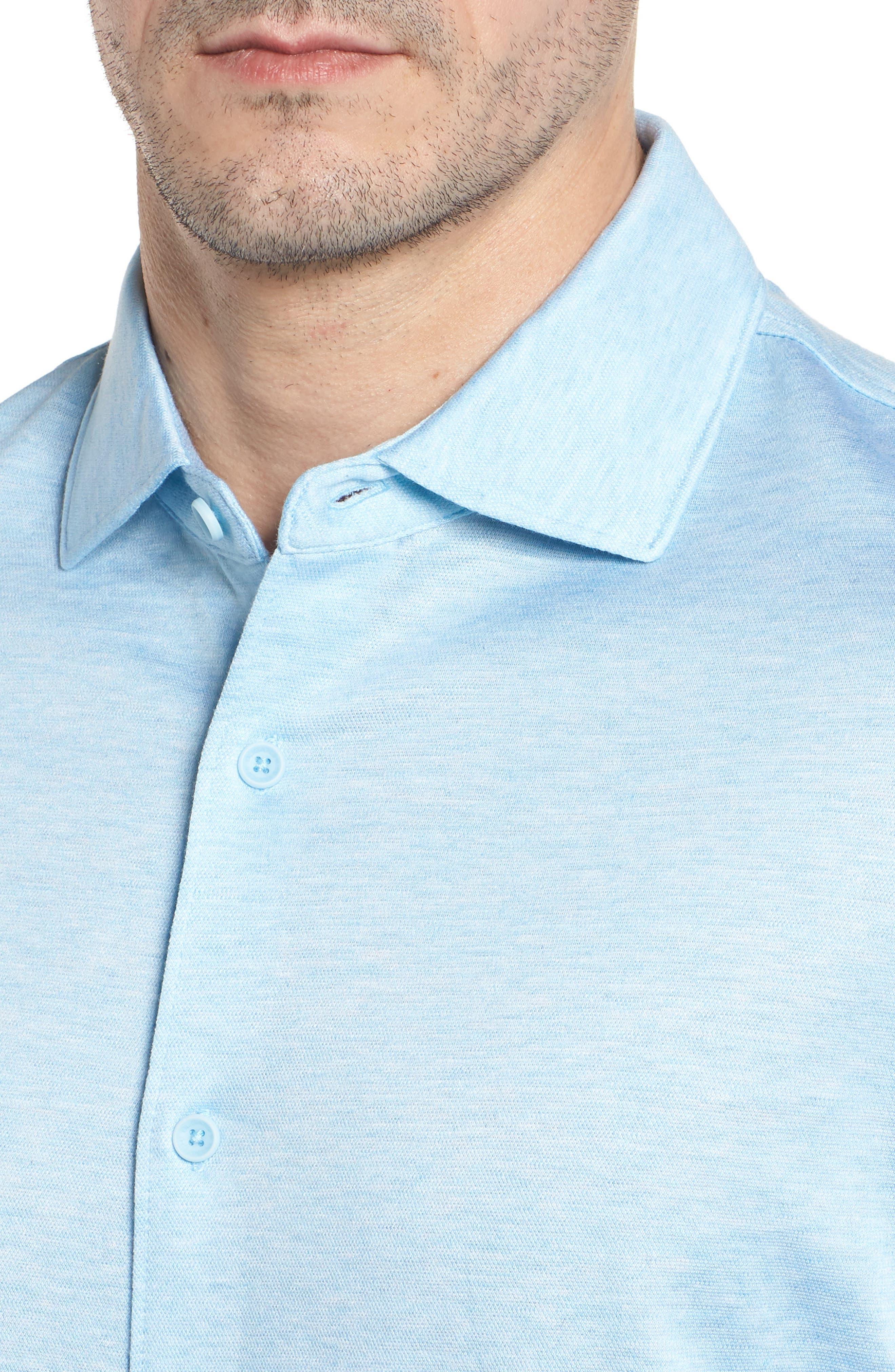 Regular Fit Silk Blend Sport Shirt,                             Alternate thumbnail 19, color,