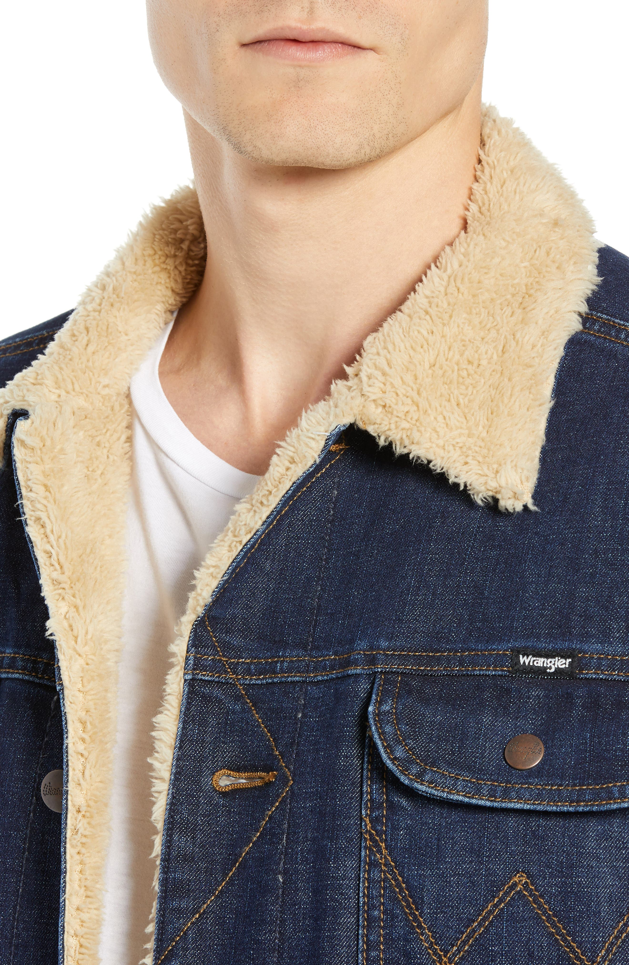 WRANGLER,                             Heritage Fleece Lined Denim Jacket,                             Alternate thumbnail 4, color,                             DARK