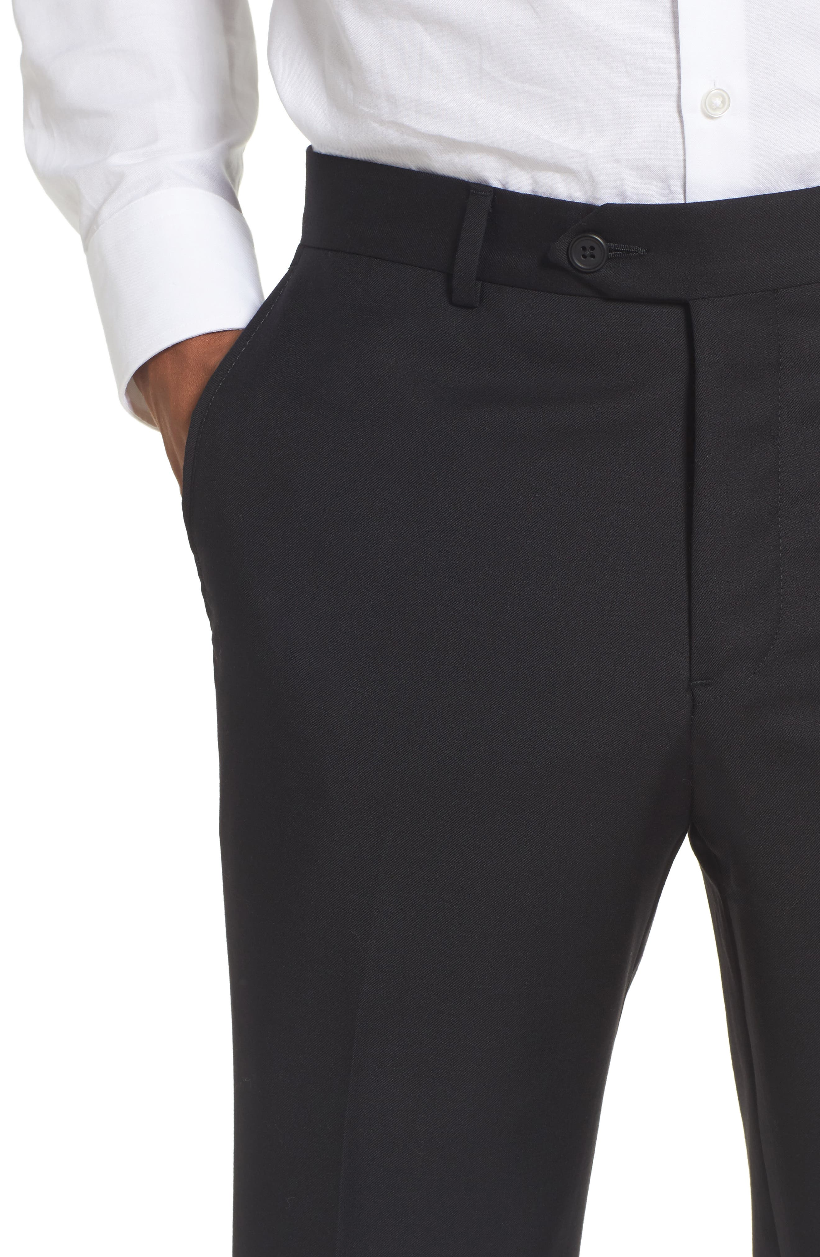 Flat Front Solid Wool Trousers,                             Alternate thumbnail 5, color,                             001