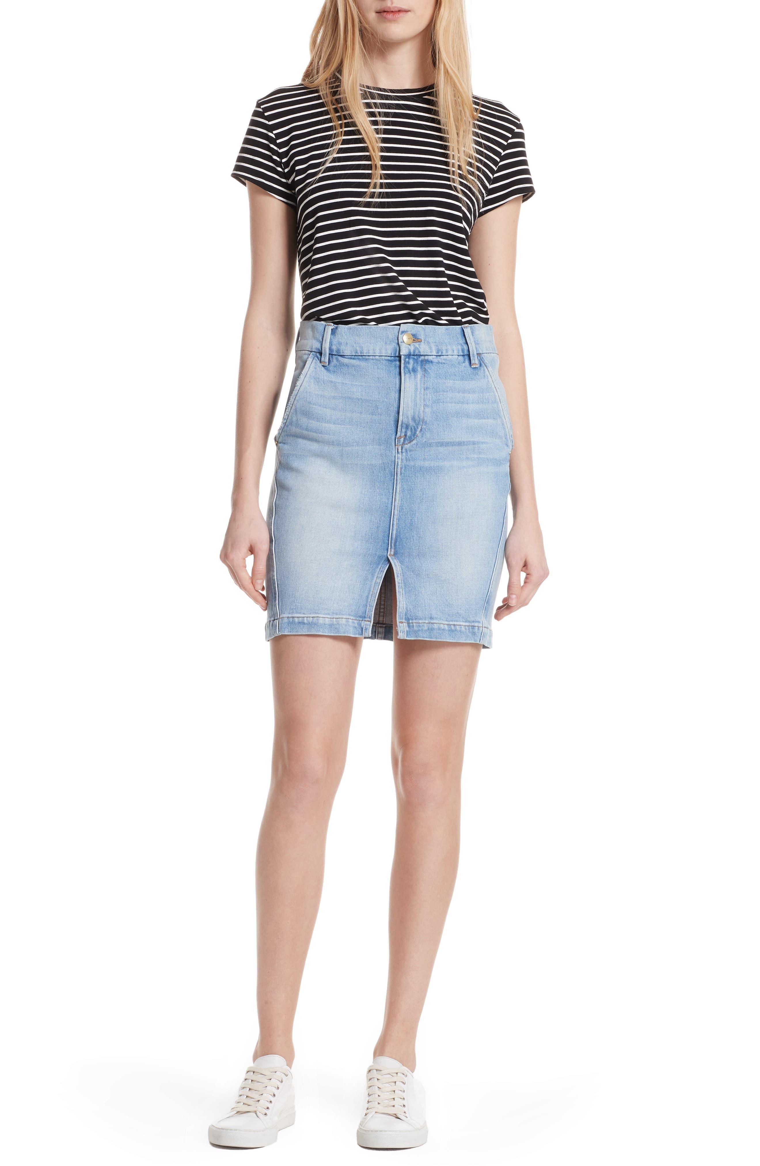 Body-Con Denim Miniskirt,                             Alternate thumbnail 8, color,                             450