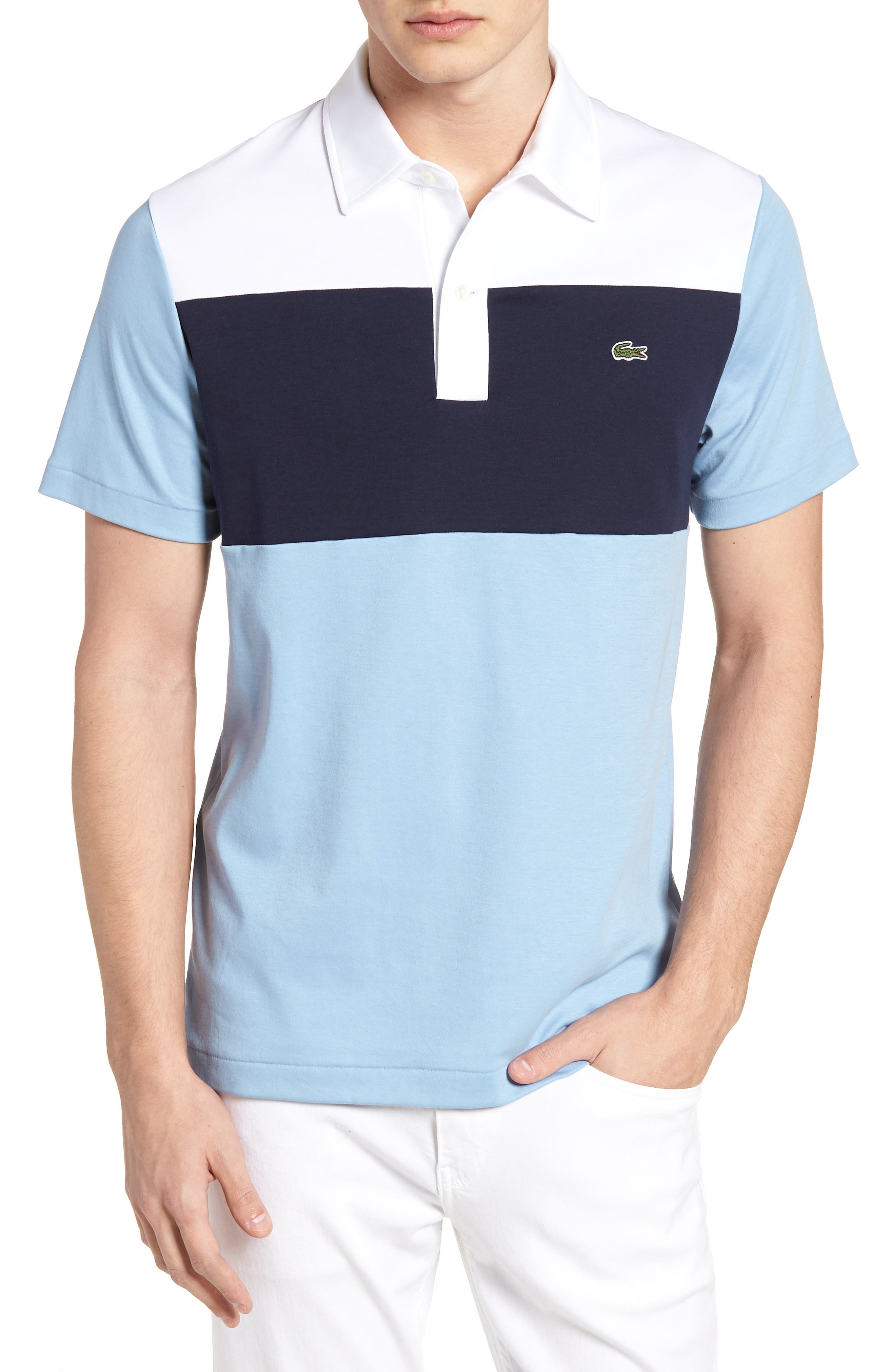 85th Anniversary Polo,                             Main thumbnail 1, color,                             DRAGONFLY/ NAVY BLUE-WHITE